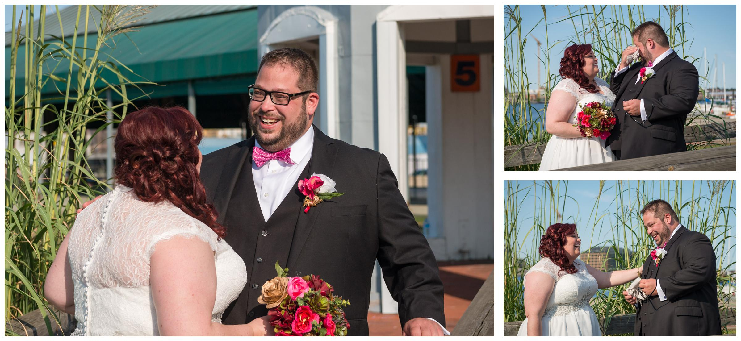 groom reacts to seeing bride during first look on wedding day