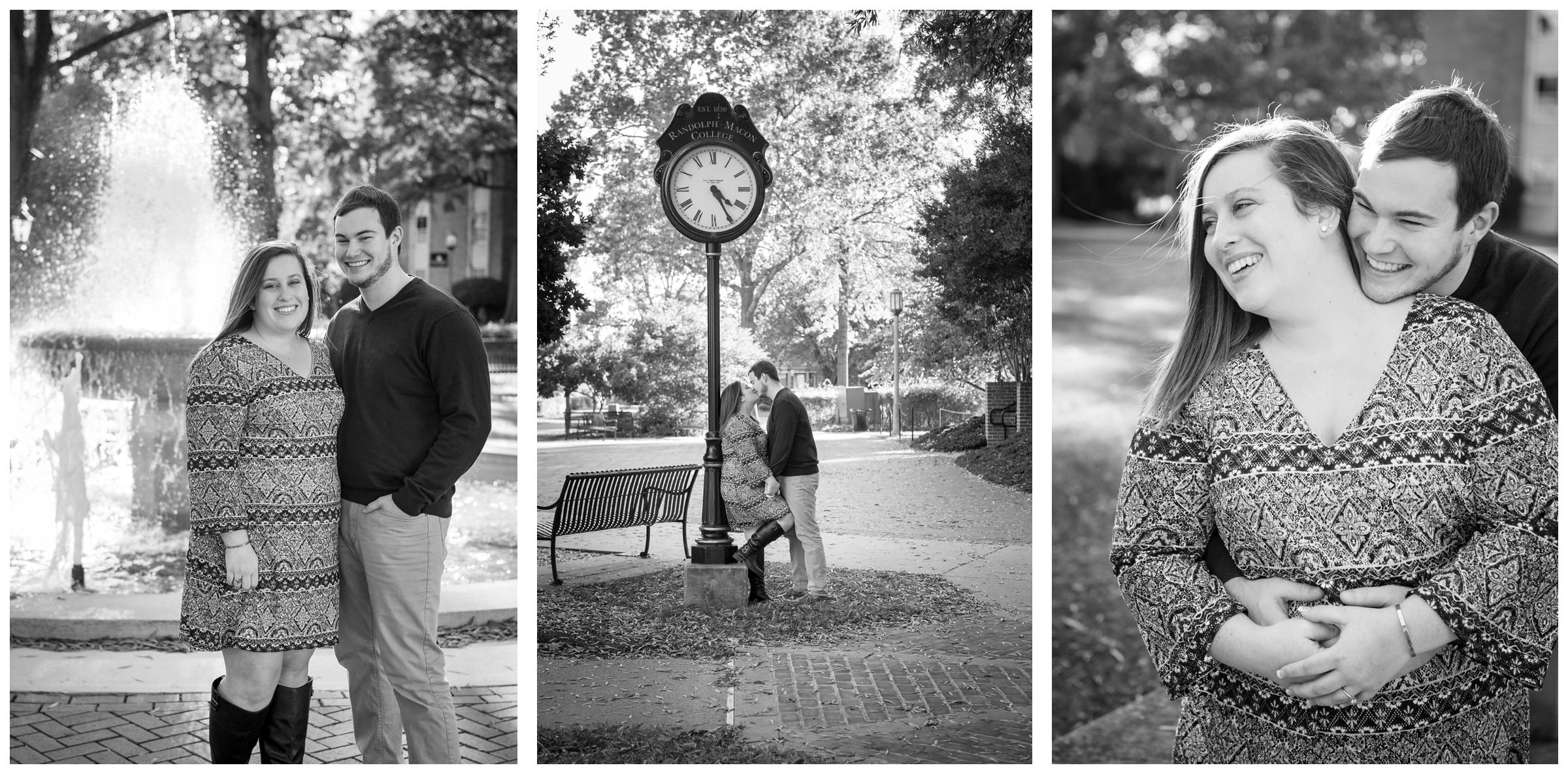 Engaged couple embracing on Randolph-Macon campus in Ashland, Virginia.