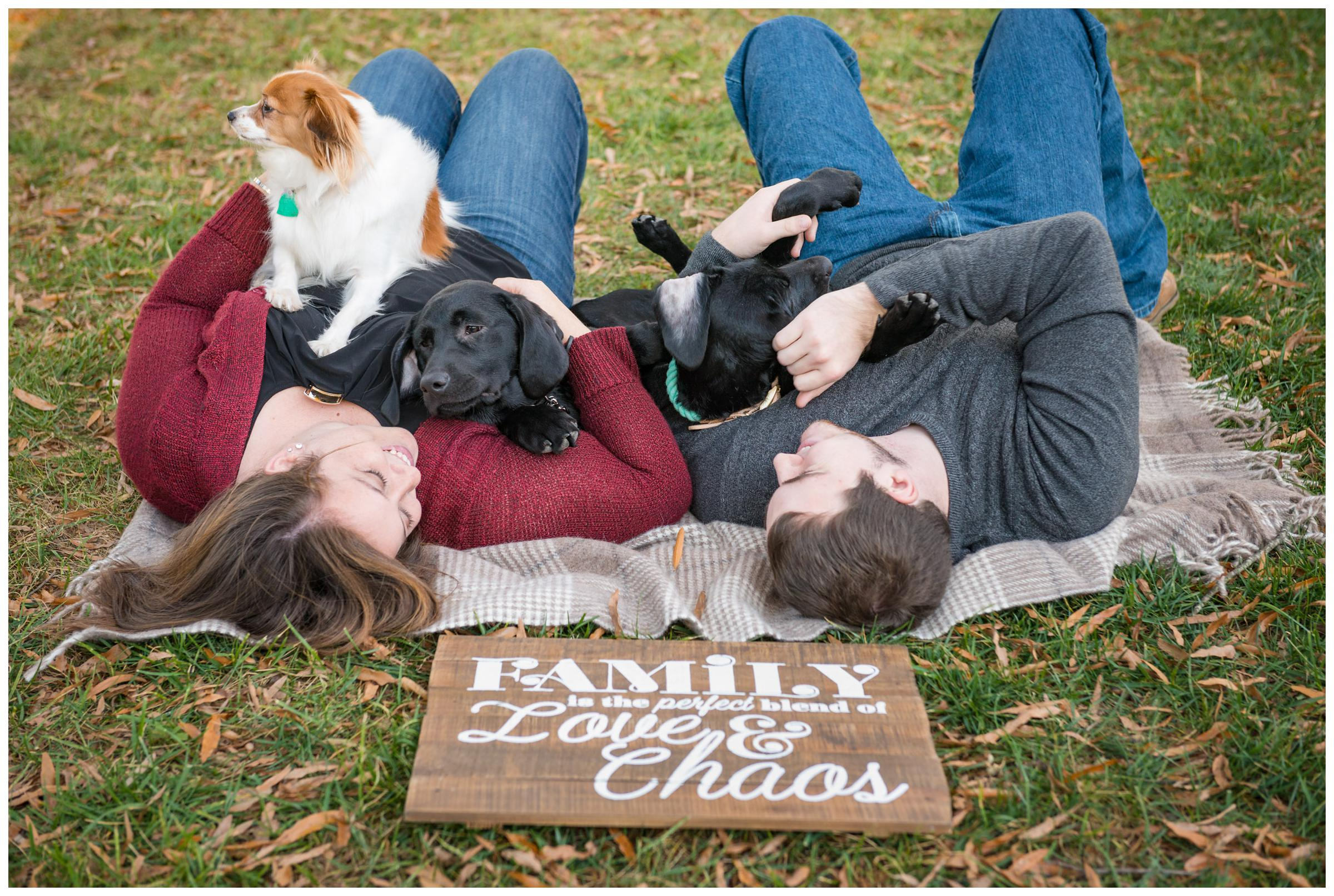 "Engaged couple playing with three dogs with ""family is the perfect blend of love & chaos"" sign."