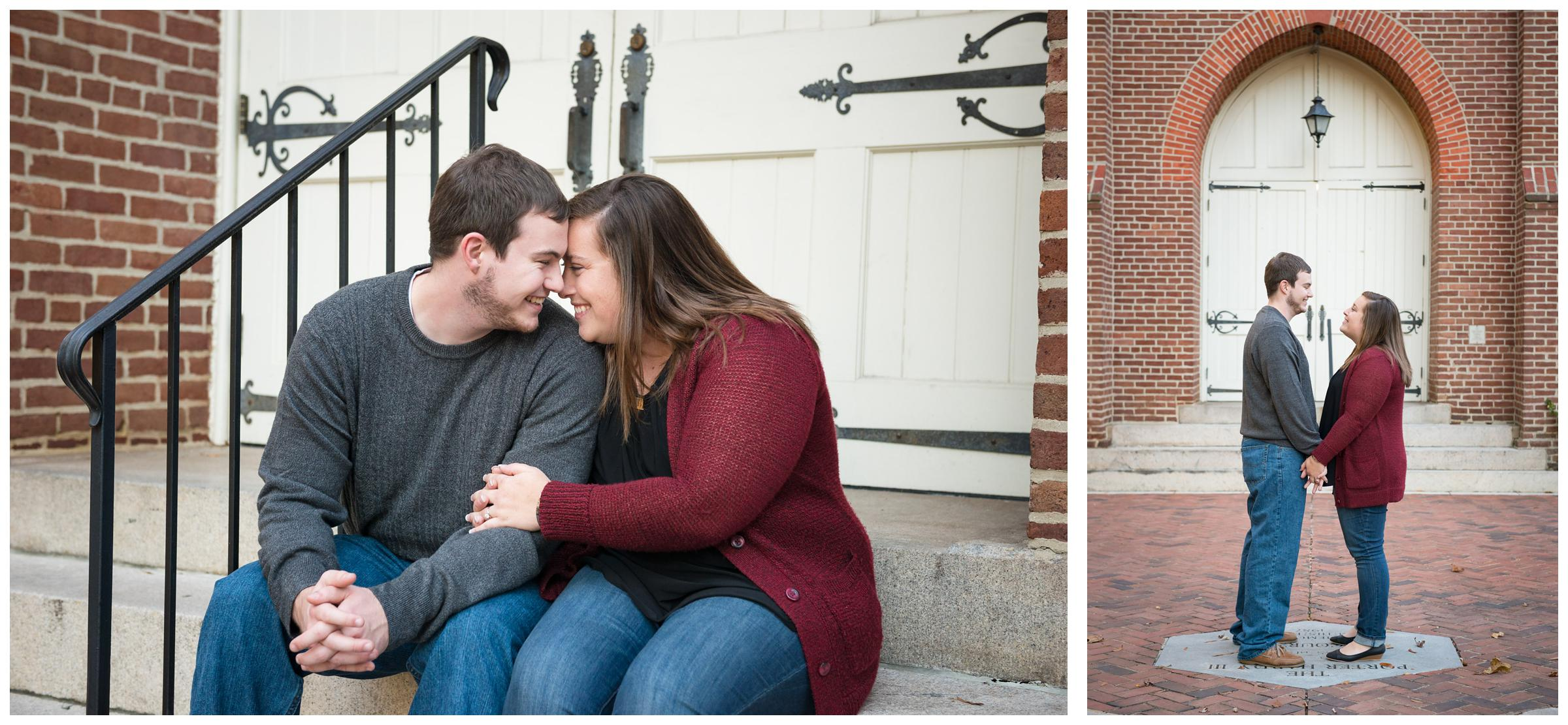 Engagement photos on the campus of Randolph-Macon College in Ashland, Virginia.