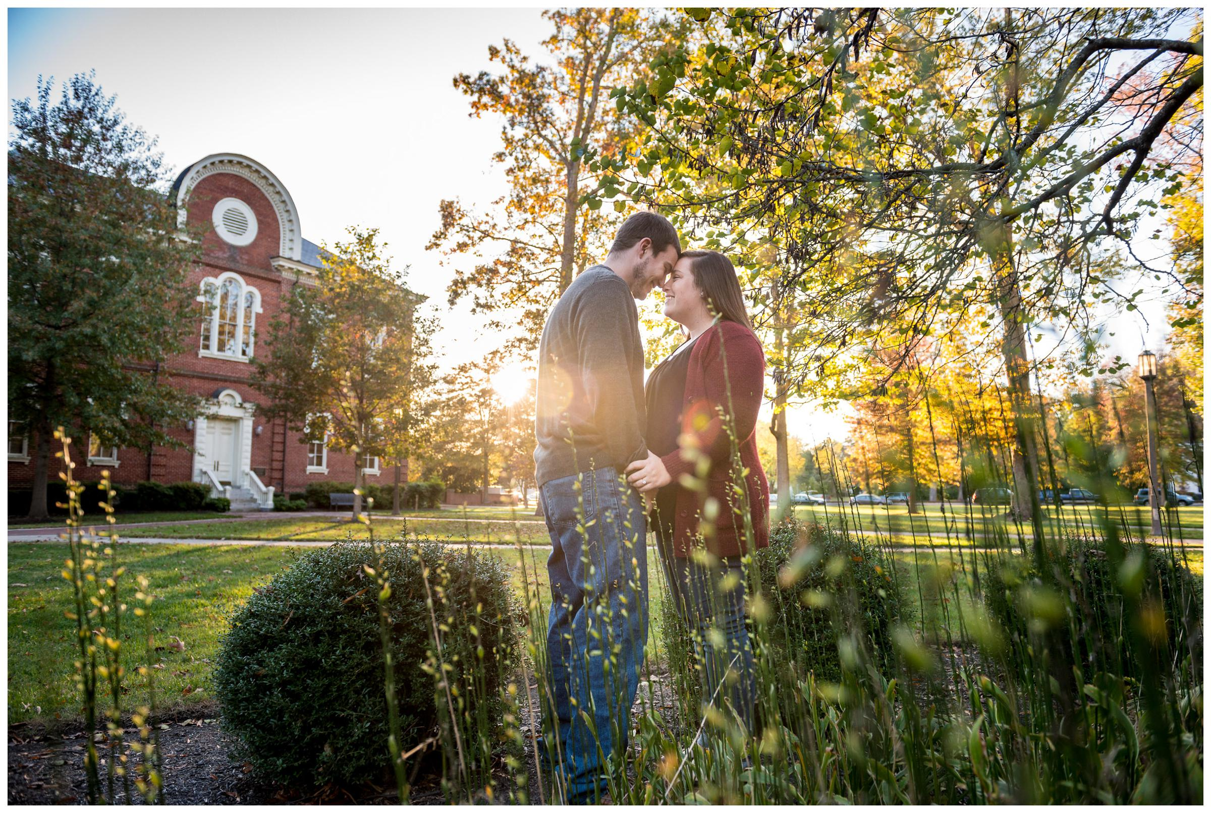 Engagement photos at sunset on Randolph-Macon campus in Ashland, Virginia.