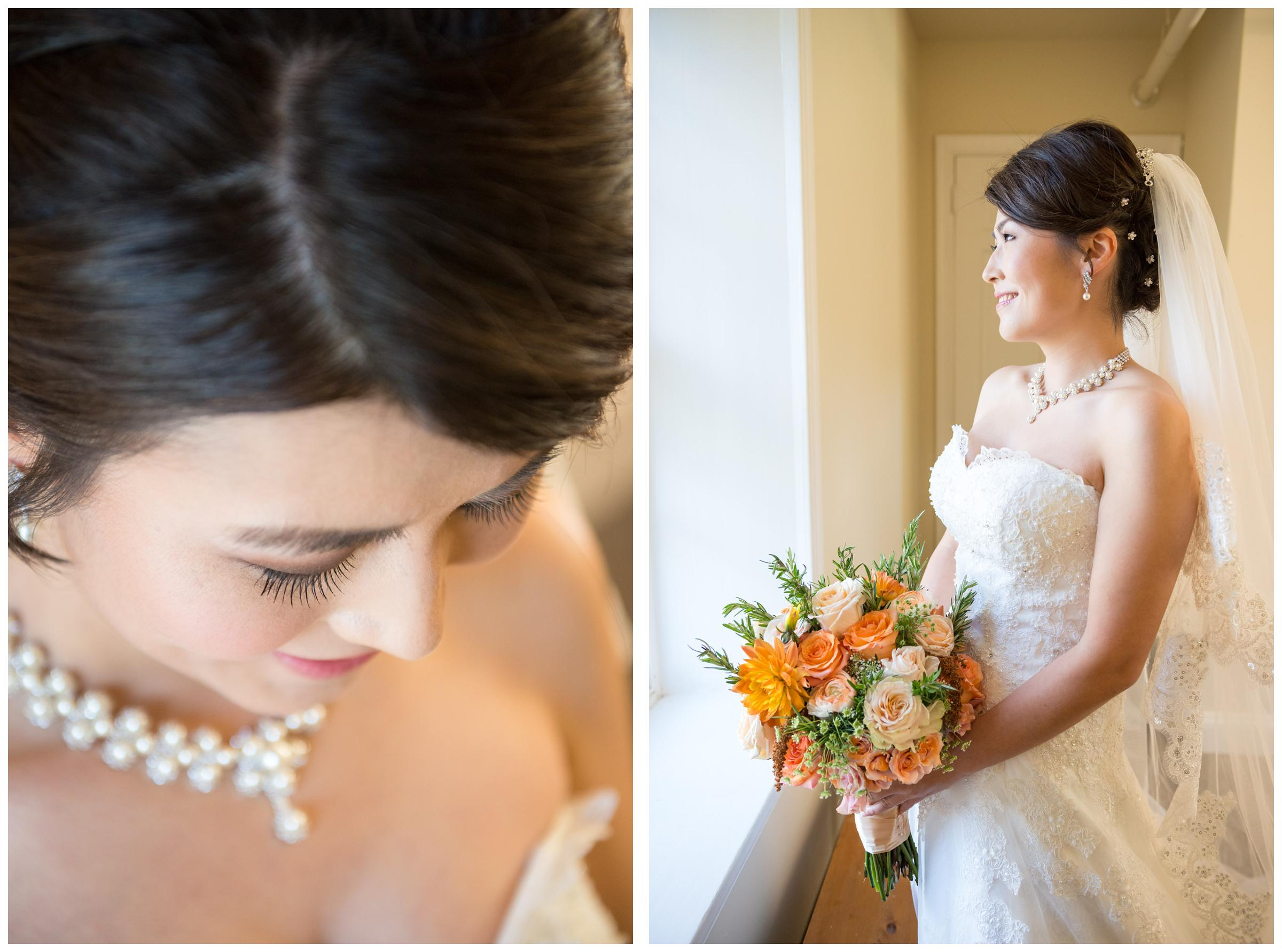 Bride looking out window before wedding ceremony.