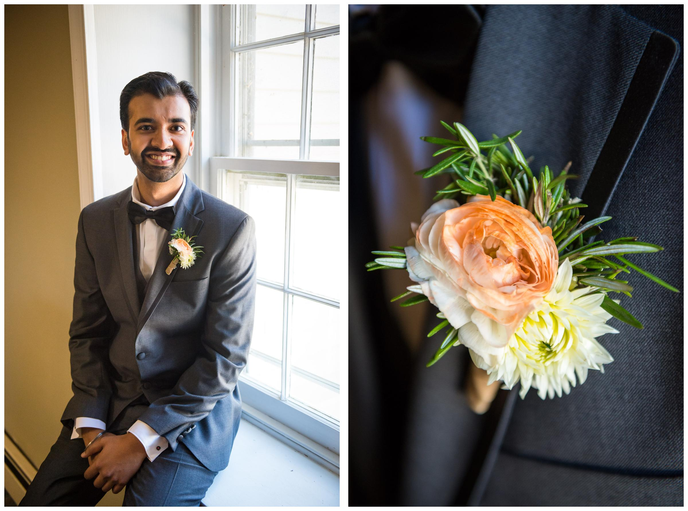 Groom and boutonniere before wedding ceremony.