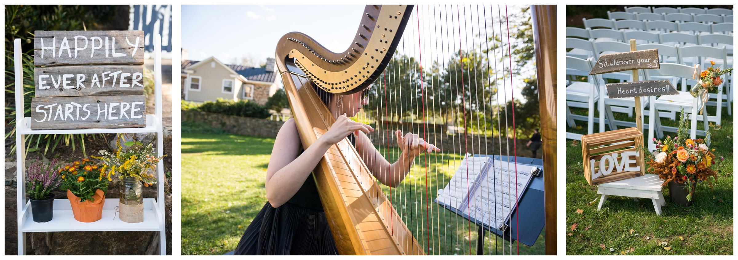 Harpist and rustic signs during wedding ceremony at Stoneleigh Golf Club.