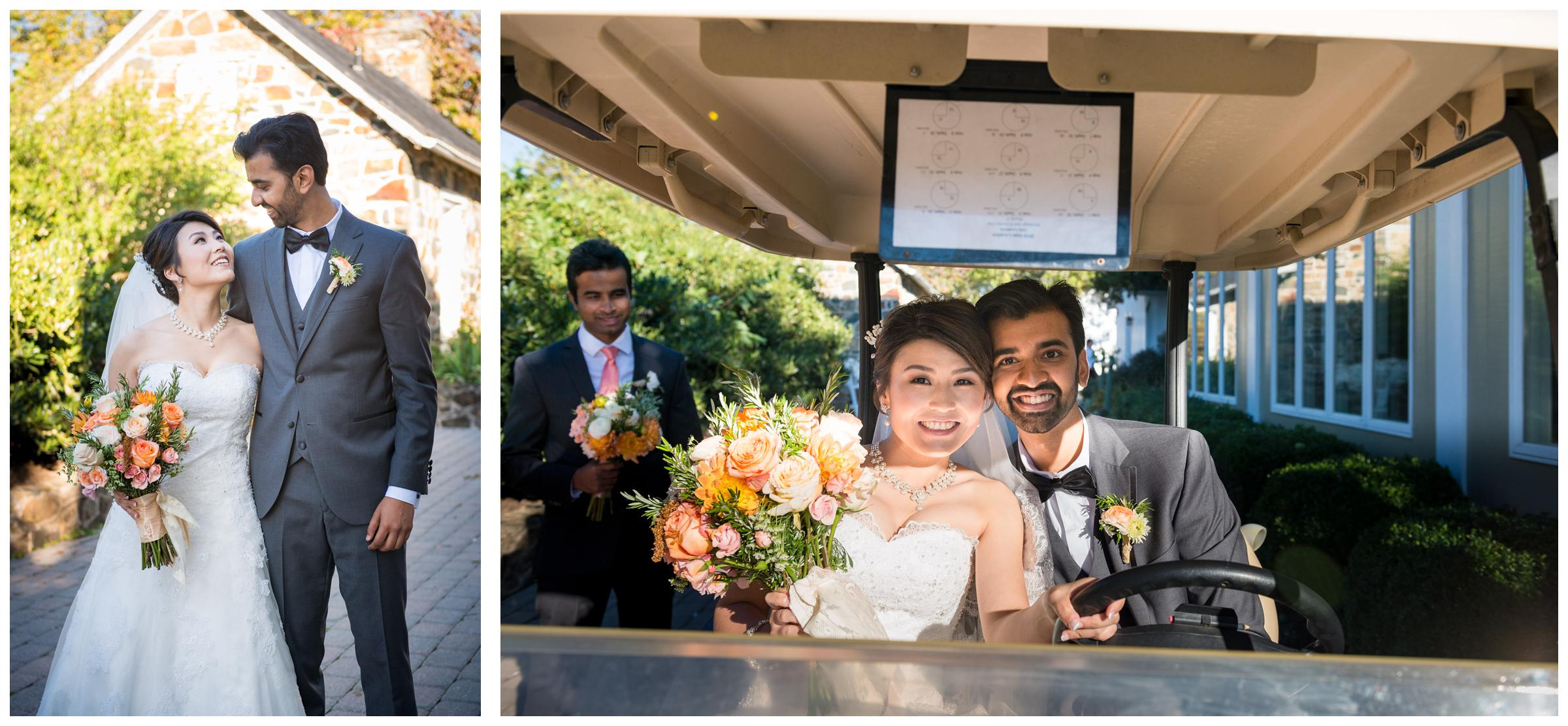 Bride and groom on golf cart following outdoor wedding.