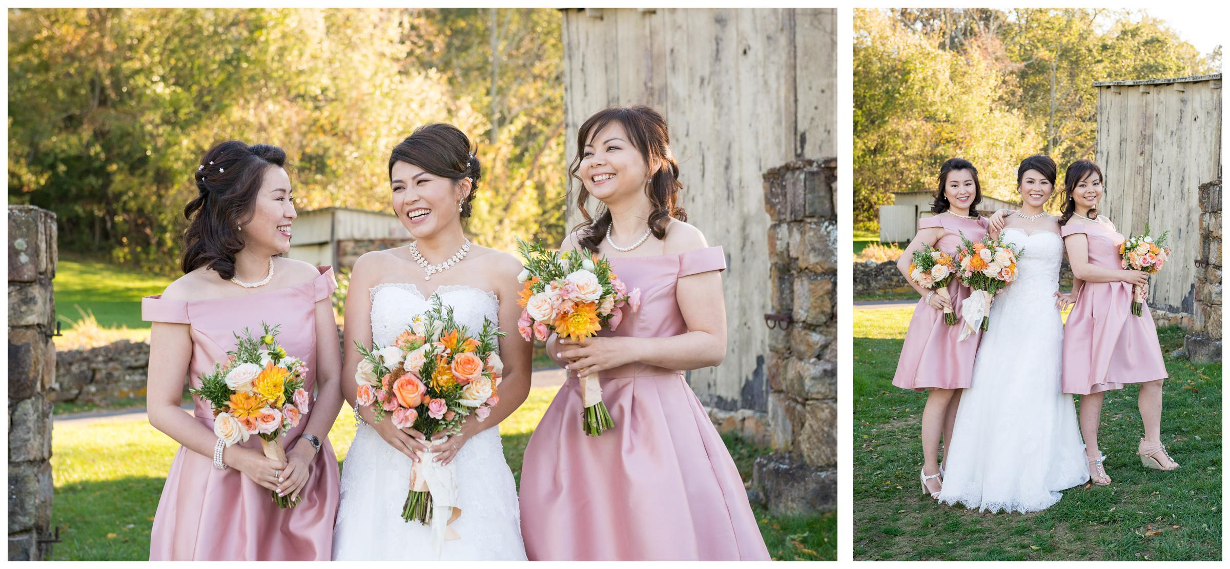 Portrait of bridesmaids near stone ruins at rustic wedding.