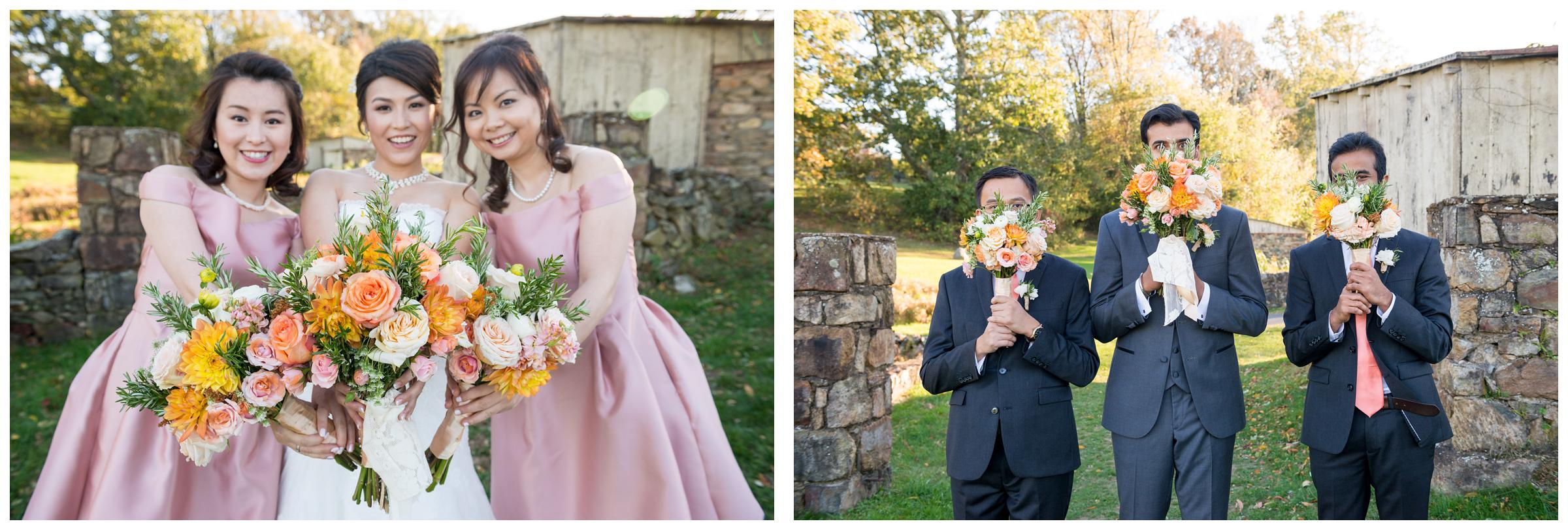 Portraits of bridesmaids and groomsmen with bouquets.