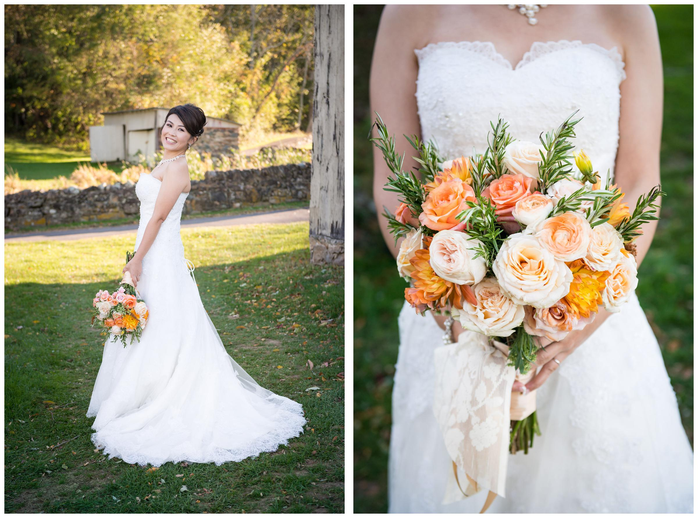 Portrait of bride and bouquet after wedding at Stoneleigh Golf Club