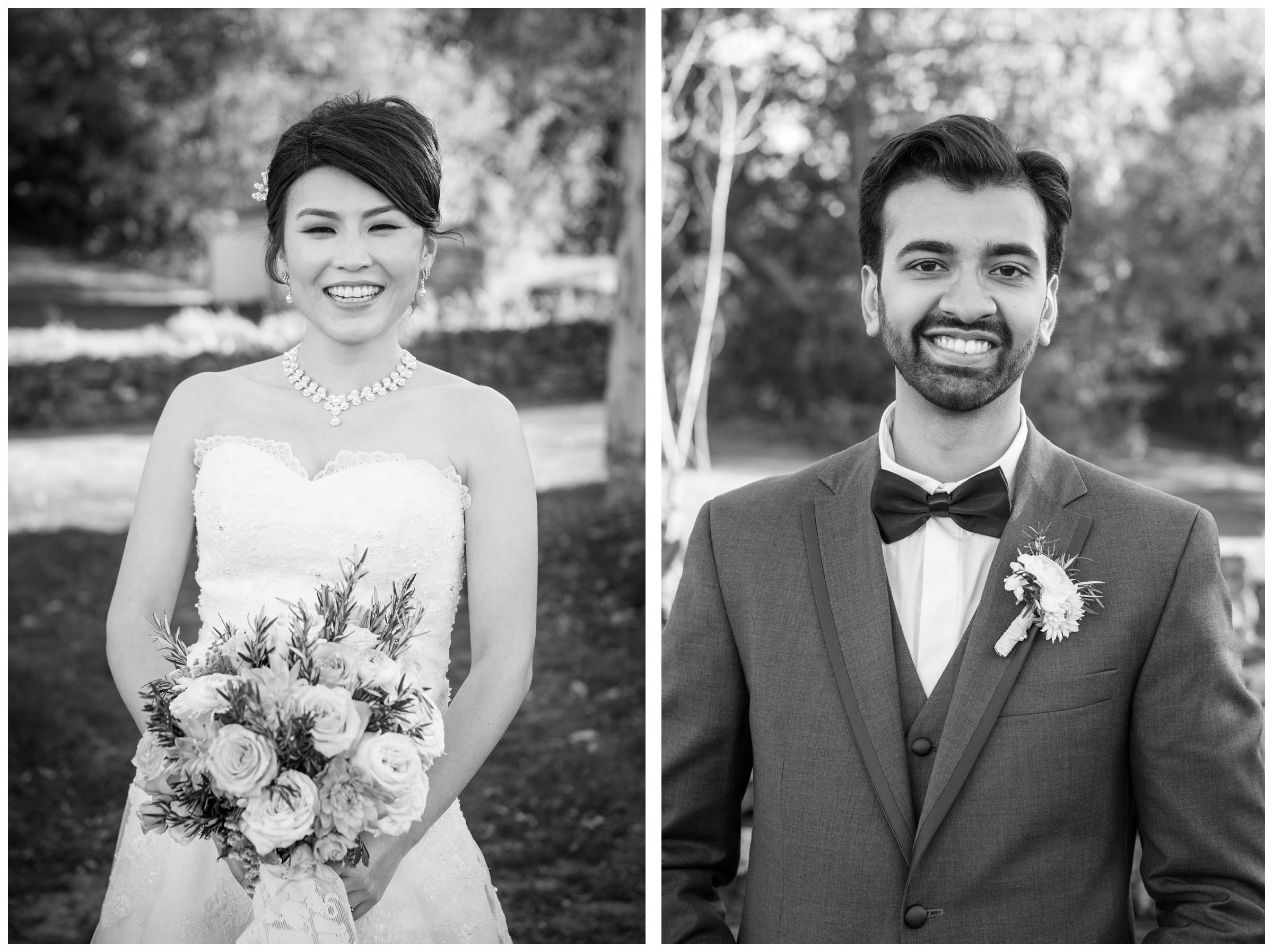 Black and white portraits of bride and groom on wedding day.