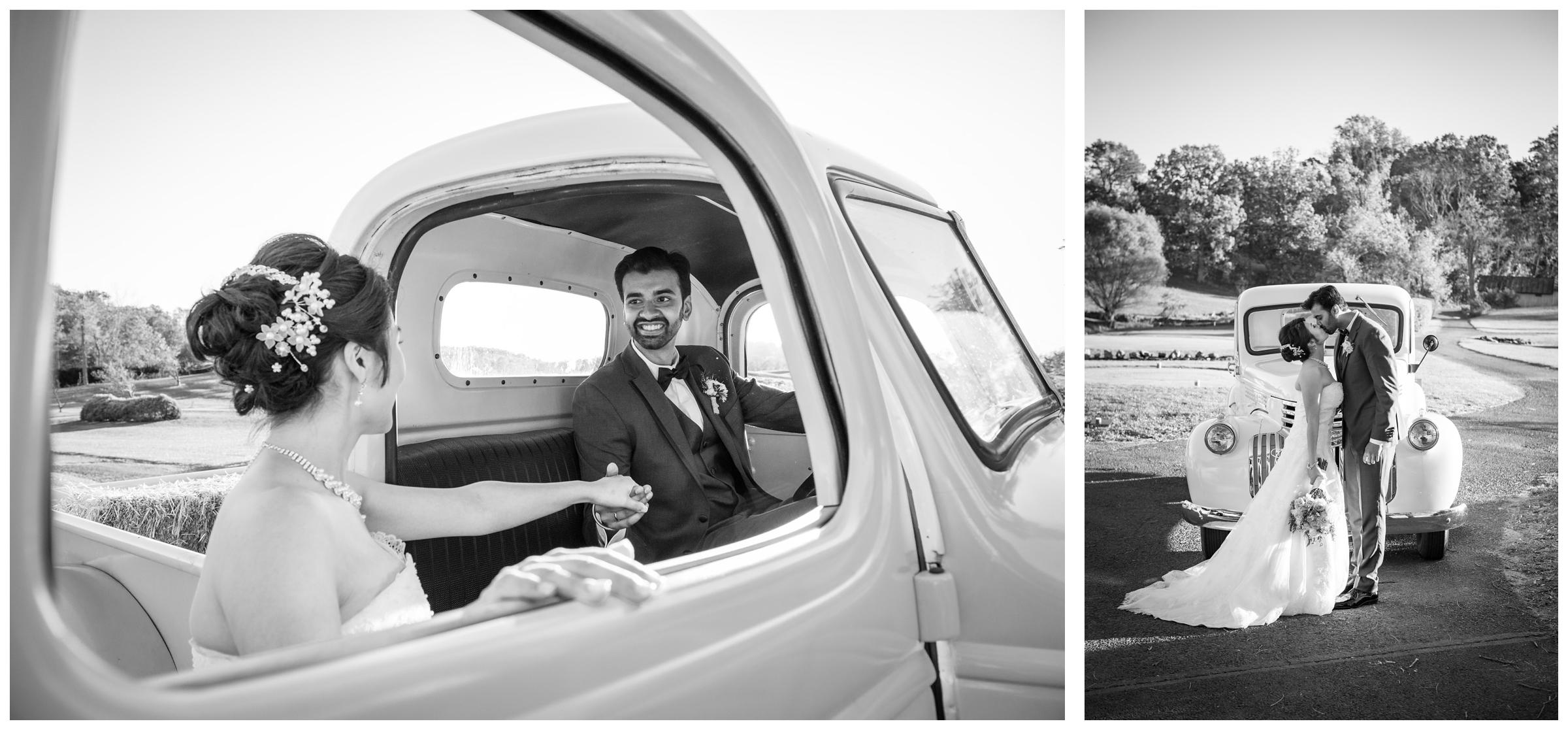 Bride and groom with vintage truck during rustic fall wedding in Northern Virginia.