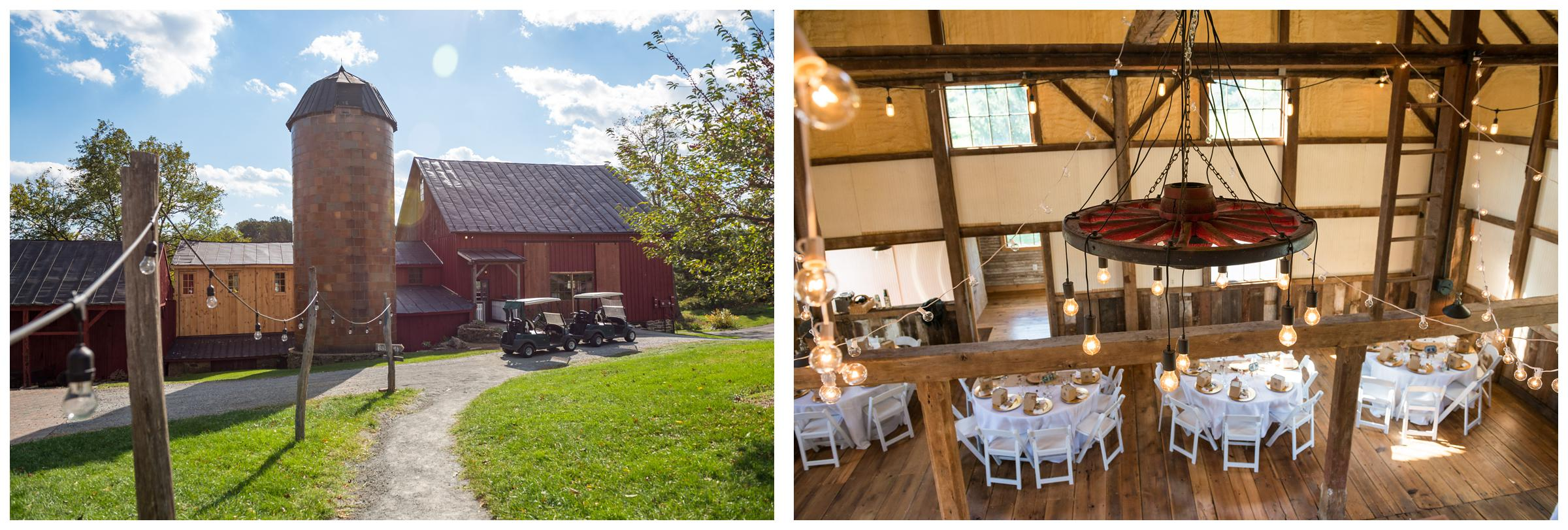 Rustic barn wedding reception with edison string lights at Stoneleigh Golf Club in Northern Virginia.