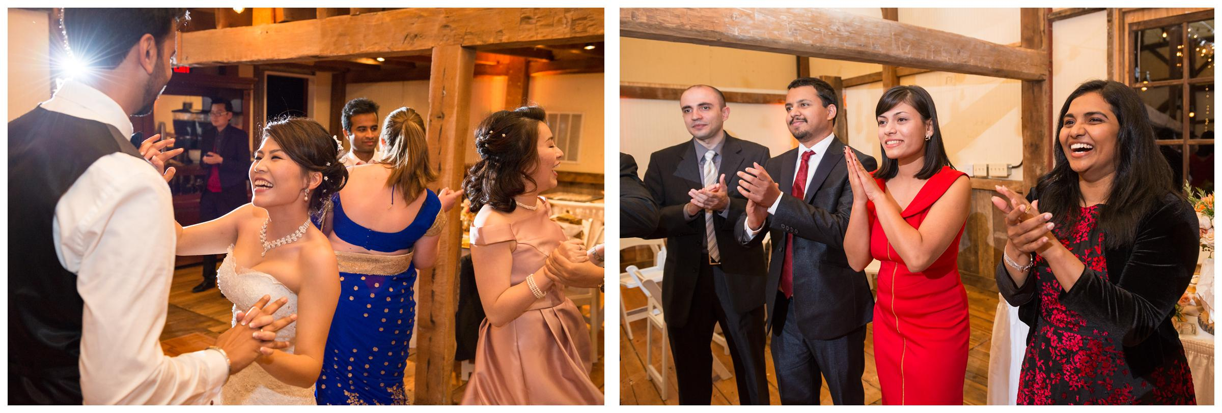 Bride and groom dancing during their rustic barn wedding reception in Northern Virginia.