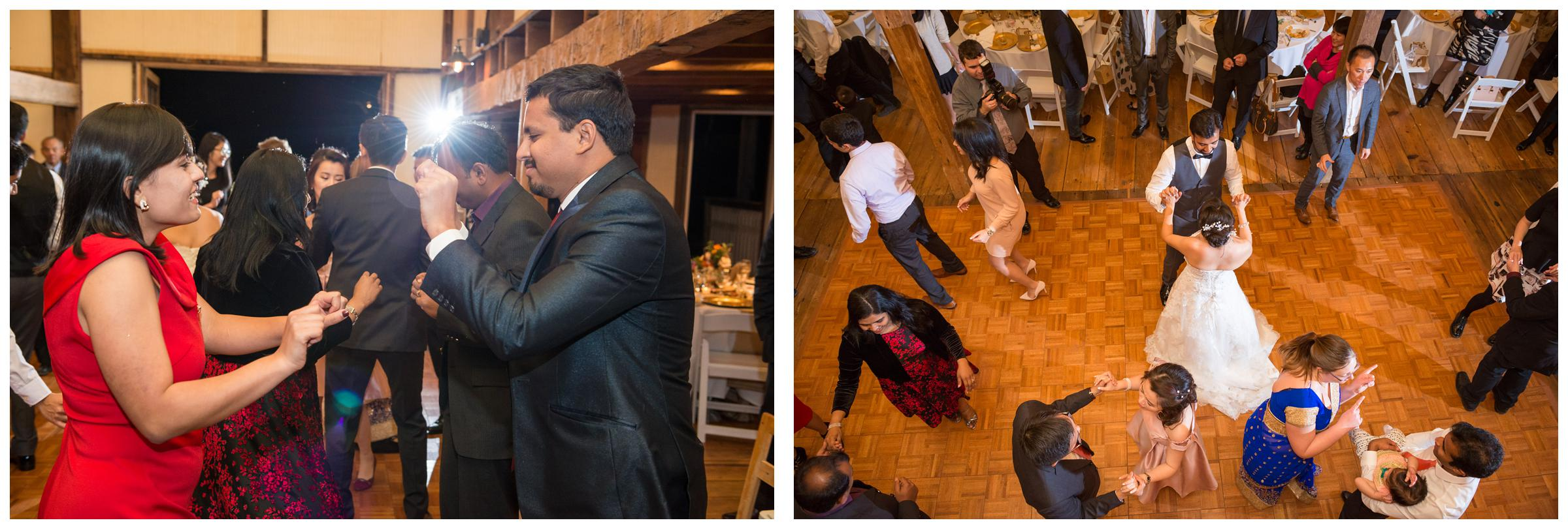 Bride and groom dancing during their rustic barn wedding reception at Stoneleigh Golf Club.