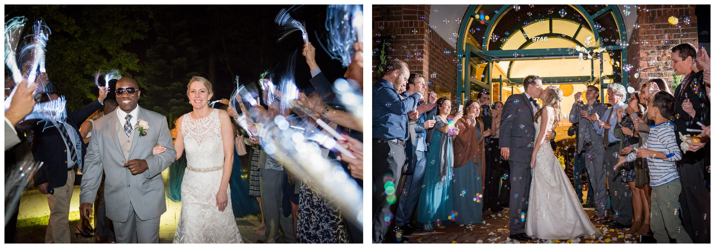 wedding glow stick exit and bubble send-off