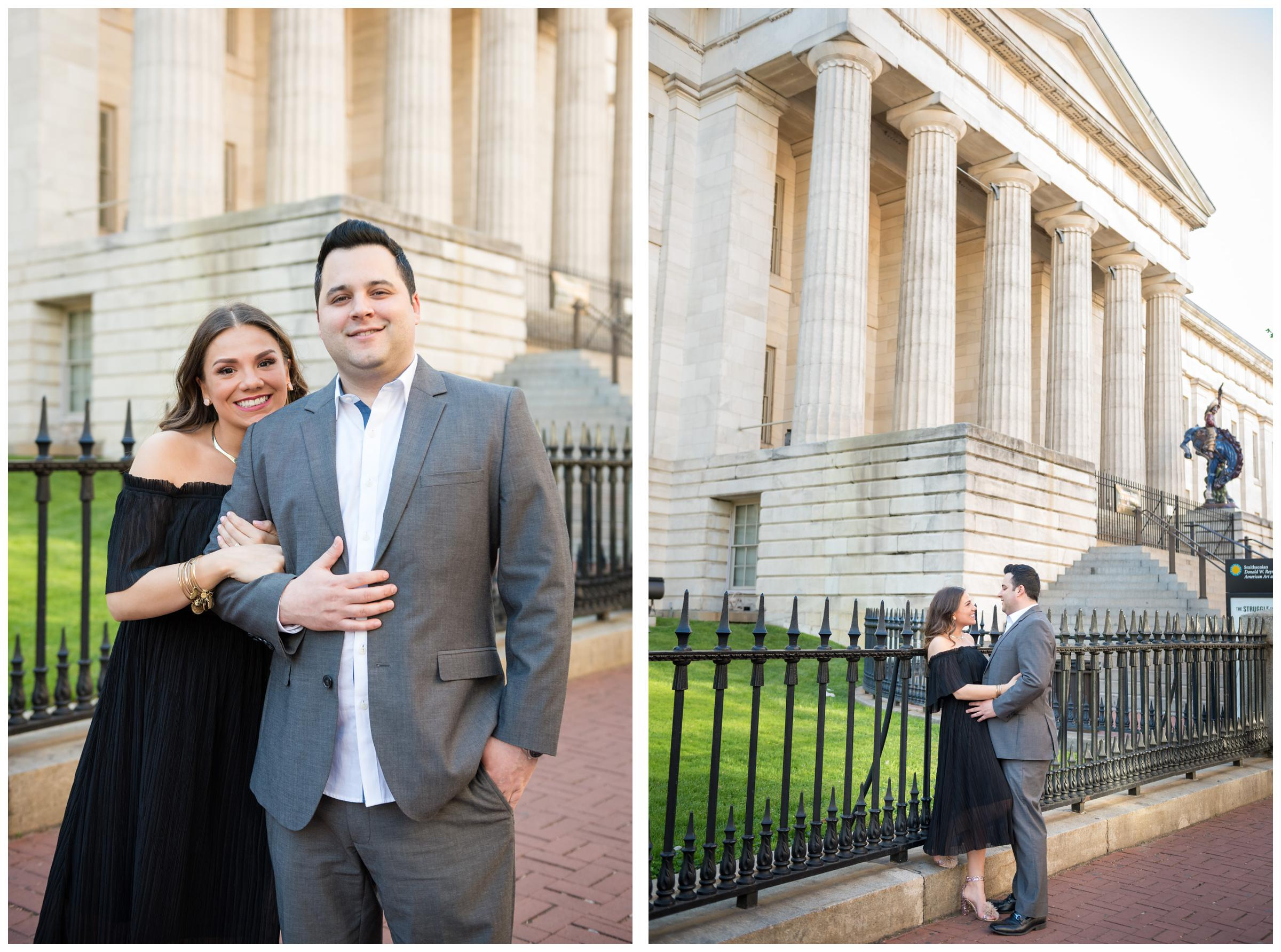 engagement photos at the National Portrait Gallery in Washington DC