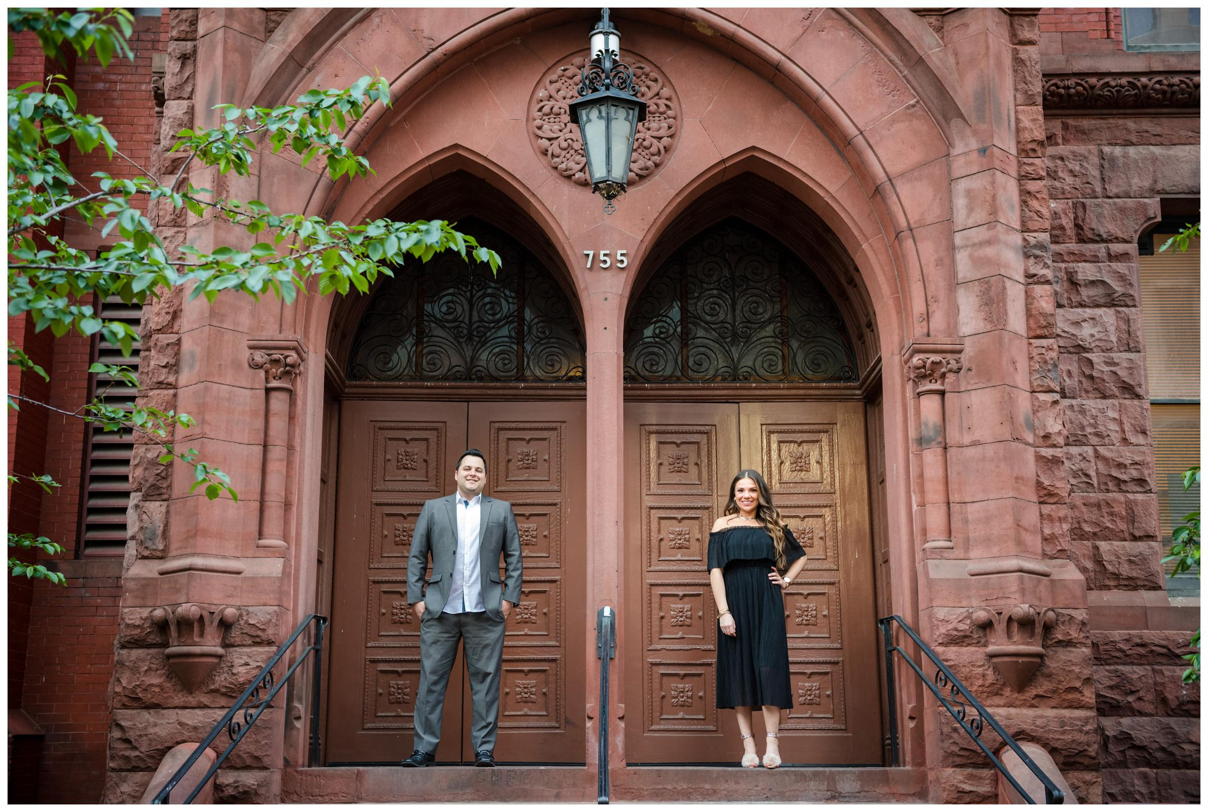 engagement photos in front of red church in downtown Washington DC