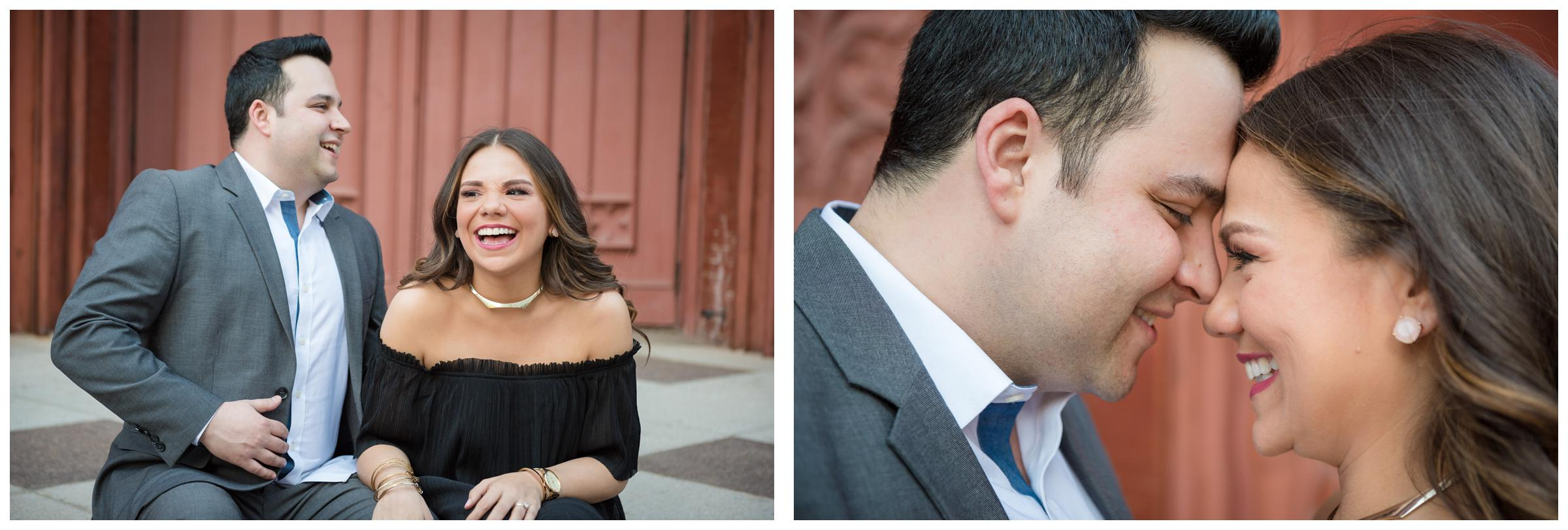 engagement photos in front of red church in downtown Washington, D.C.