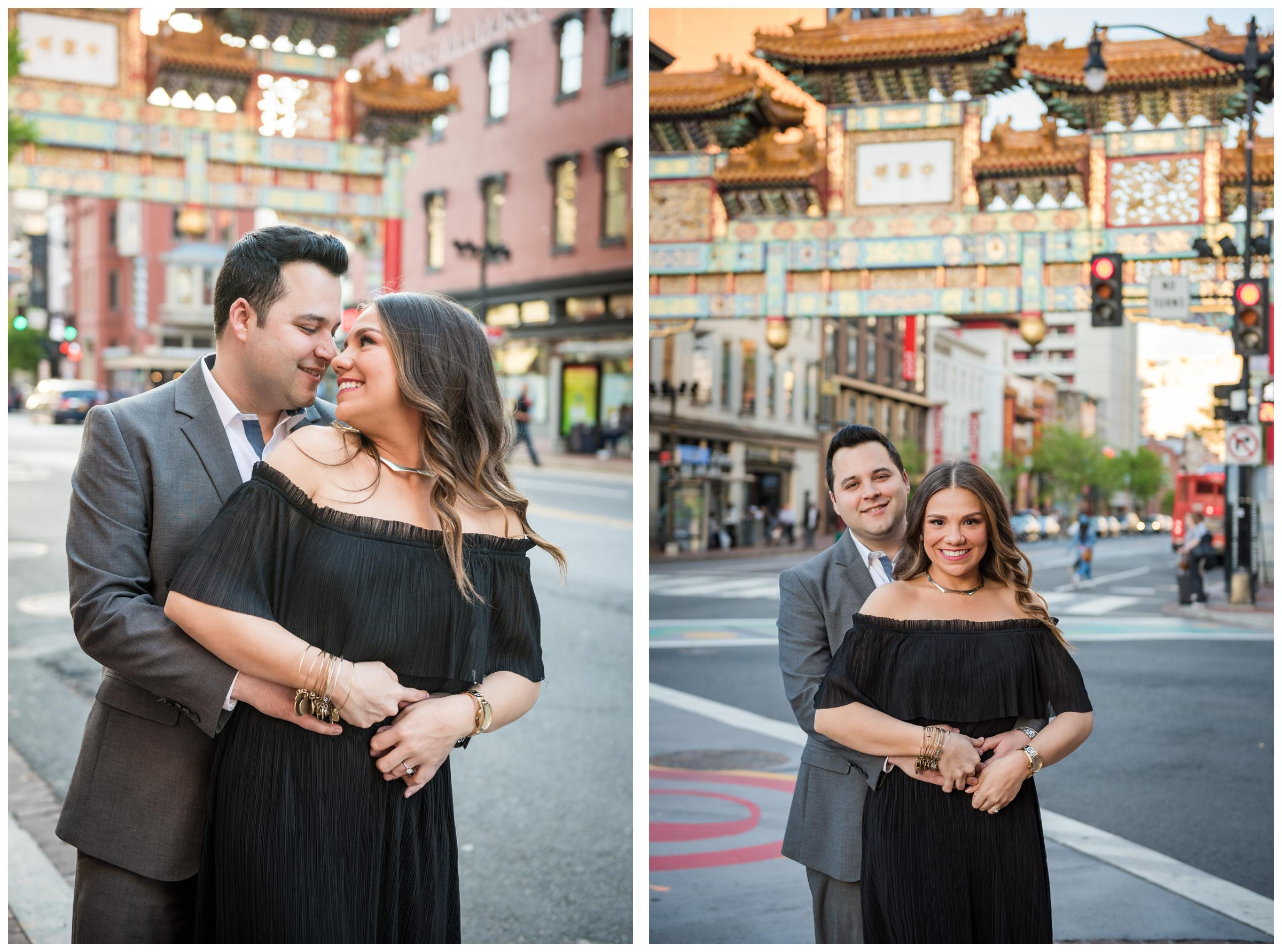 engagement photos at Friendship Archway in Chinatown, Washington DC