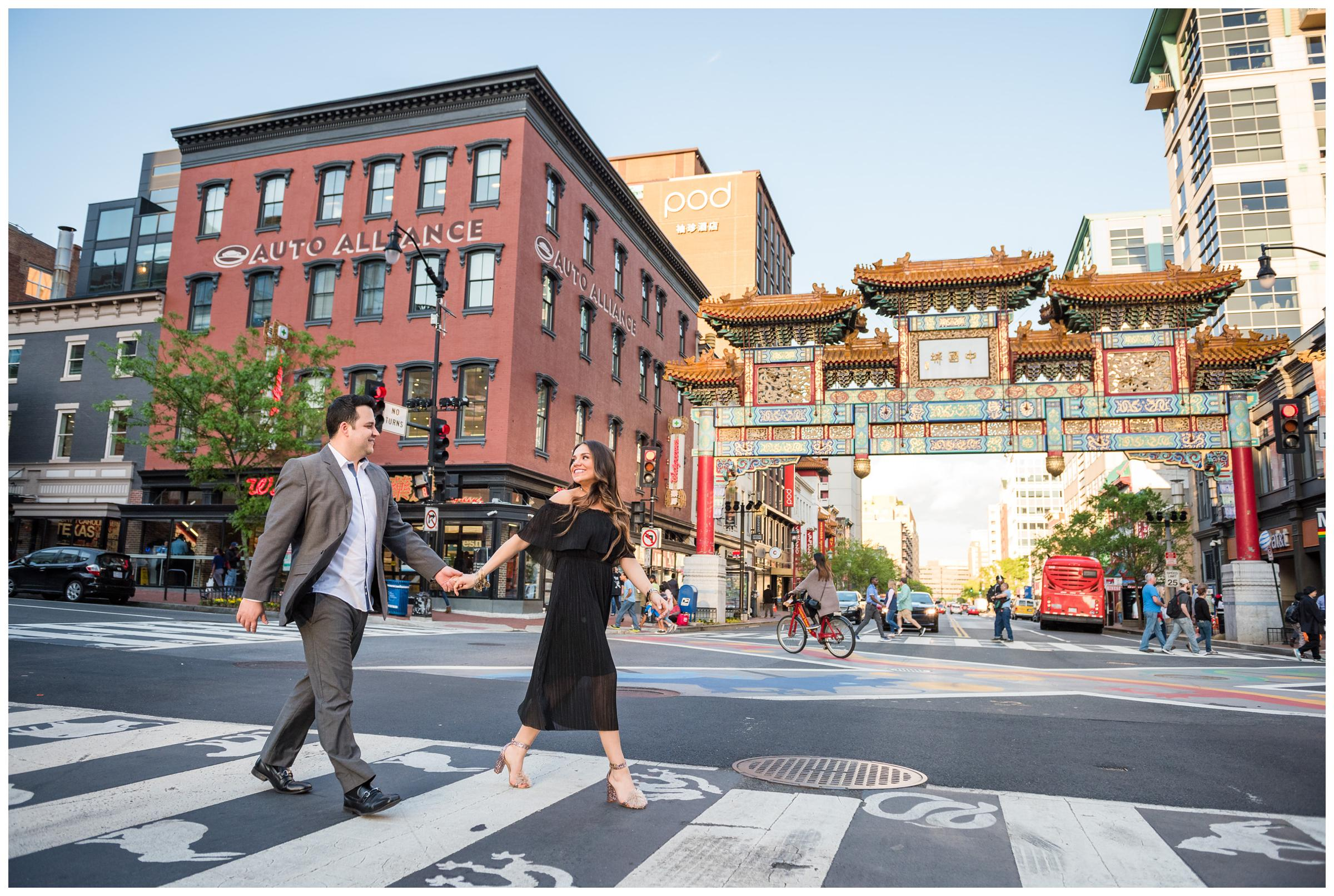 engagement photos at Friendship Archway in Chinatown, Washington, D.C.