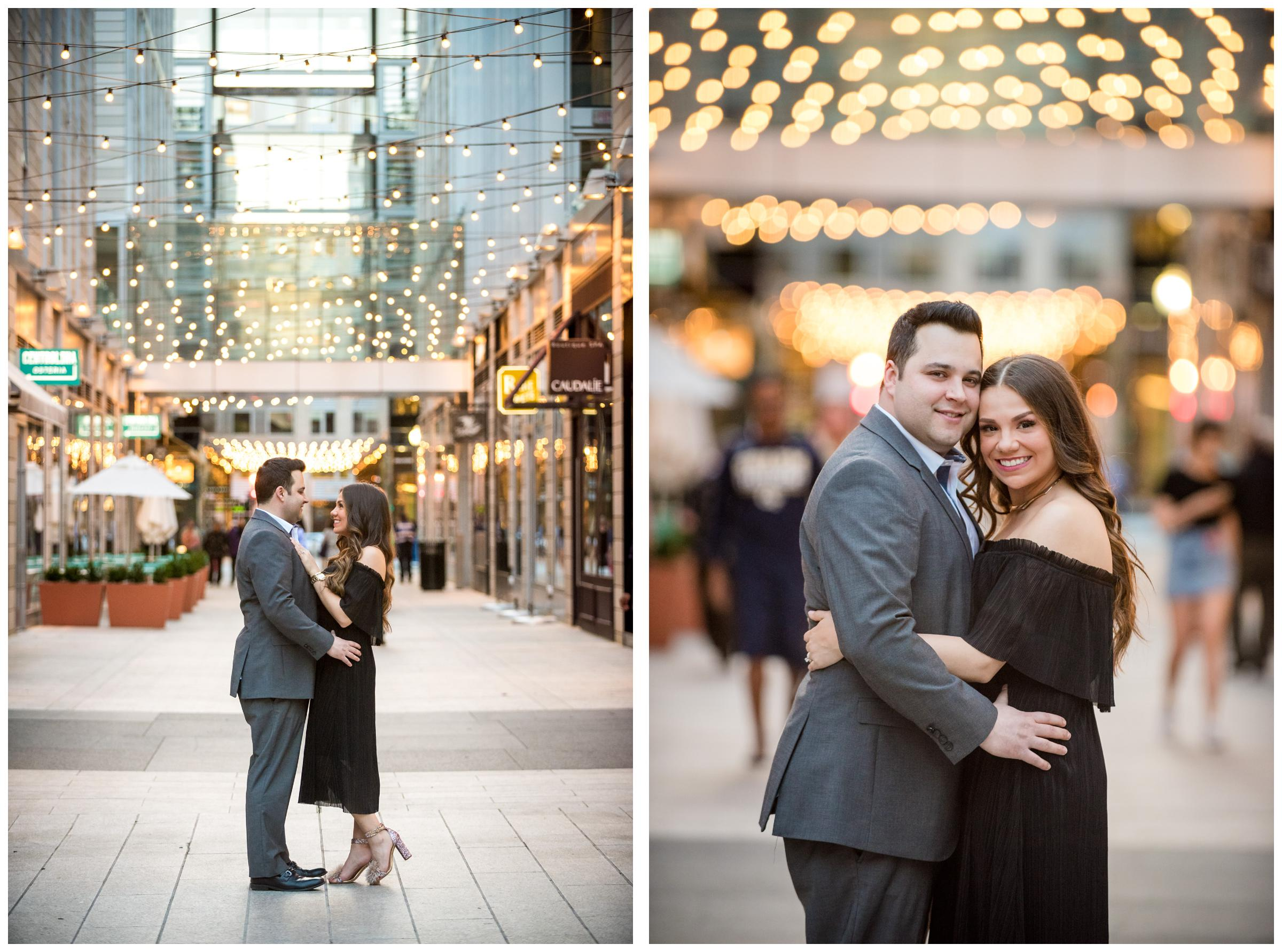 Couple surrounded by string lights during engagement session in City Center, Washington DC