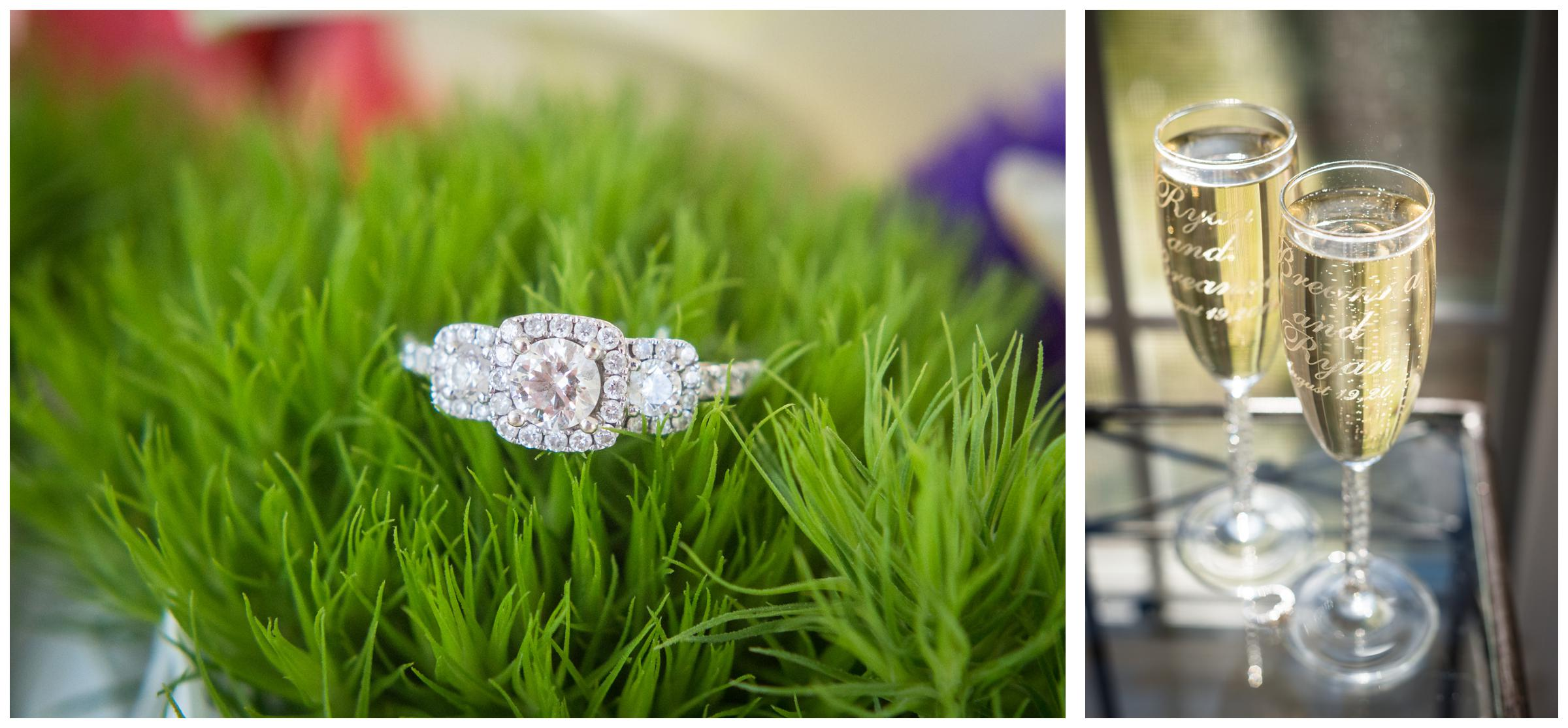 engagement ring on green flower and personalized champagne flutes