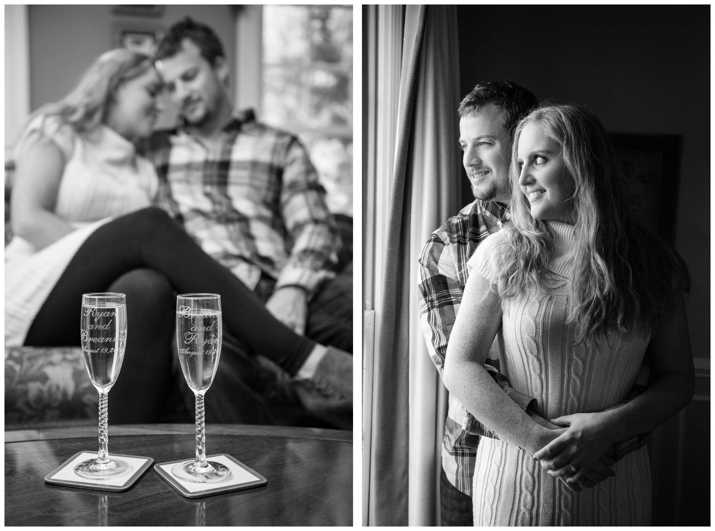 lifestyle engagement photos in home with champagne