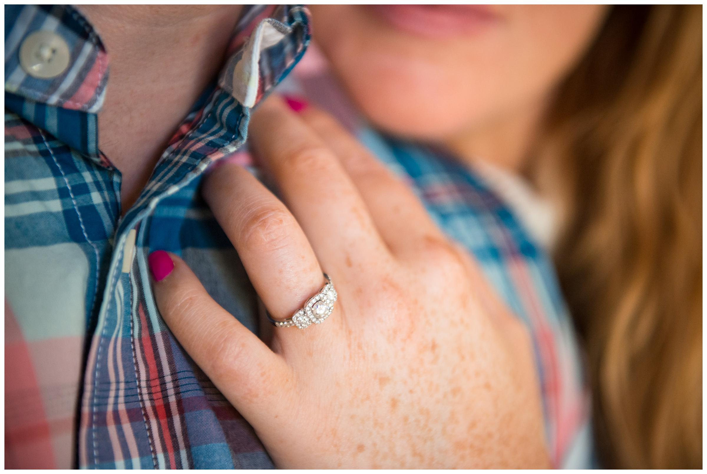 engagement ring on bride's hand