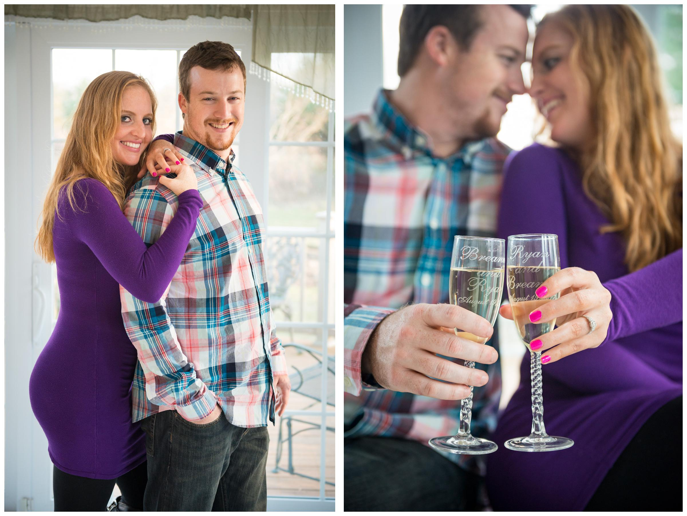 photos of engaged couple in Rockville, Maryland home with champagne