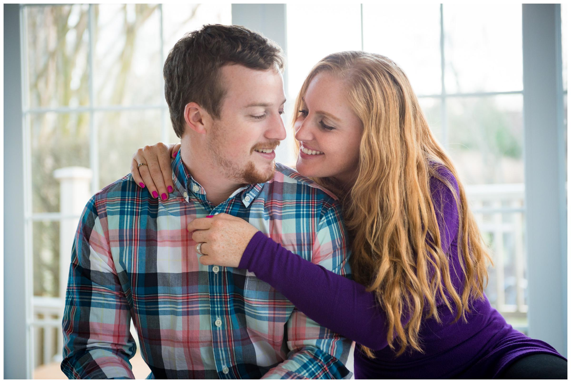 lifestyle engagement session of couple in home in Rockville, Maryland