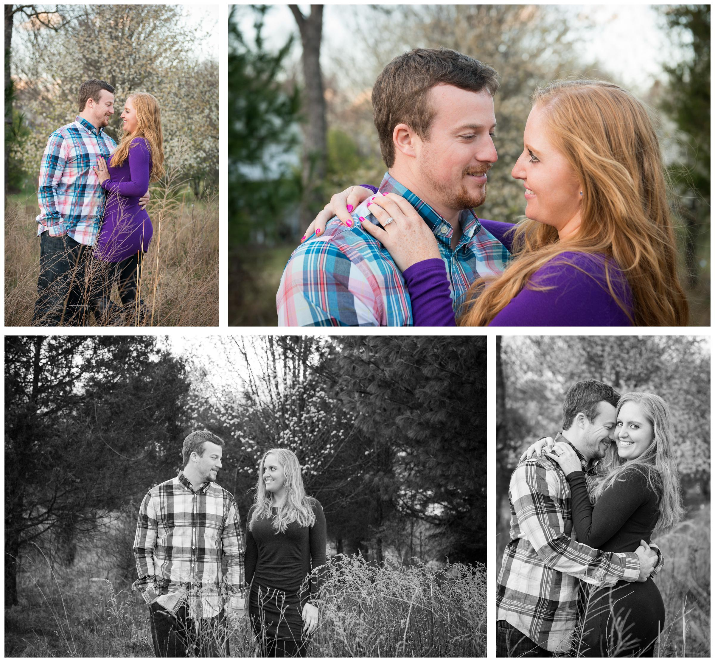 Spring engagement photos of couple in Rockville, Maryland near cherry trees
