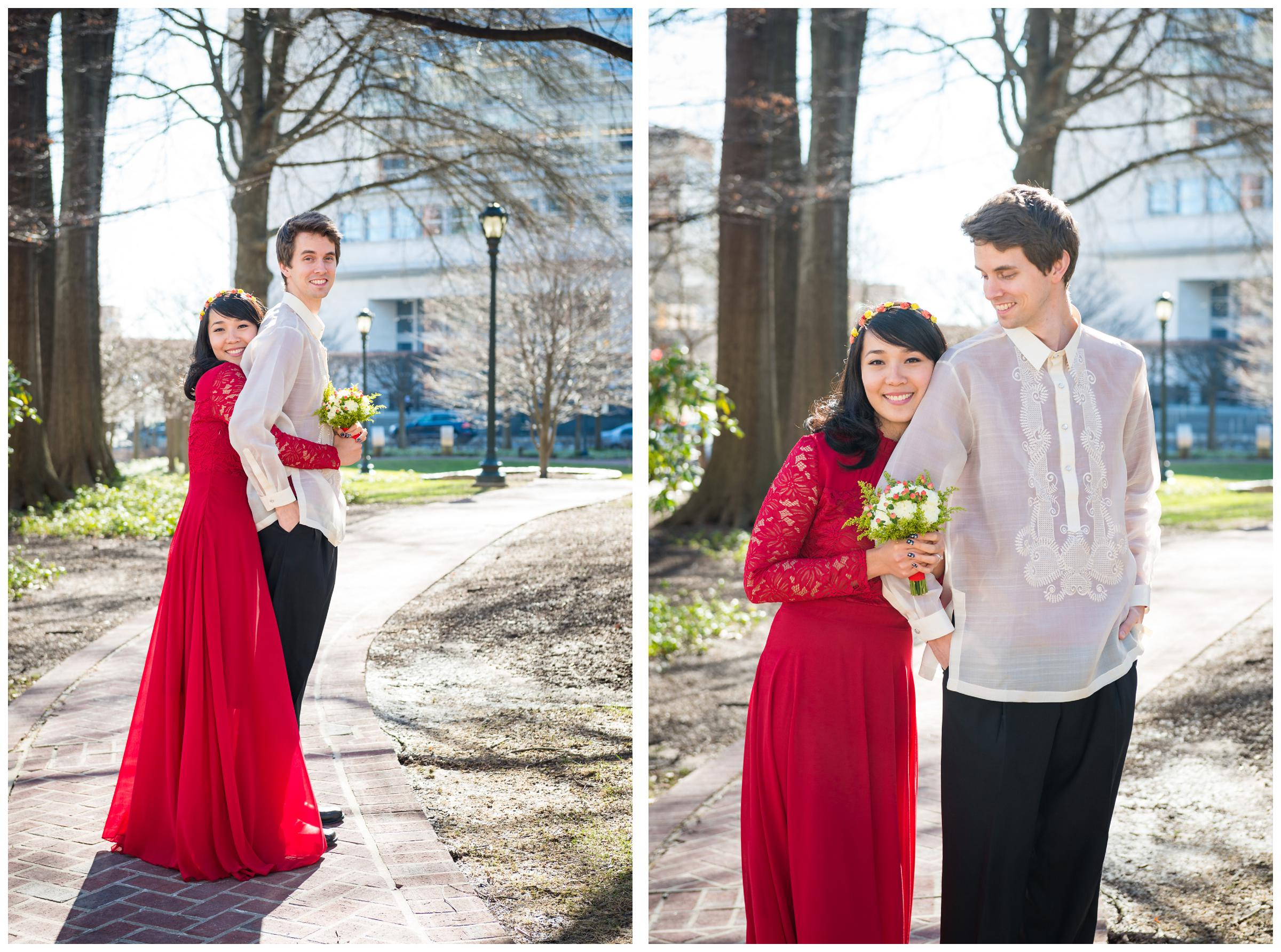 bride and groom wearing Filipino wedding clothes and red gown