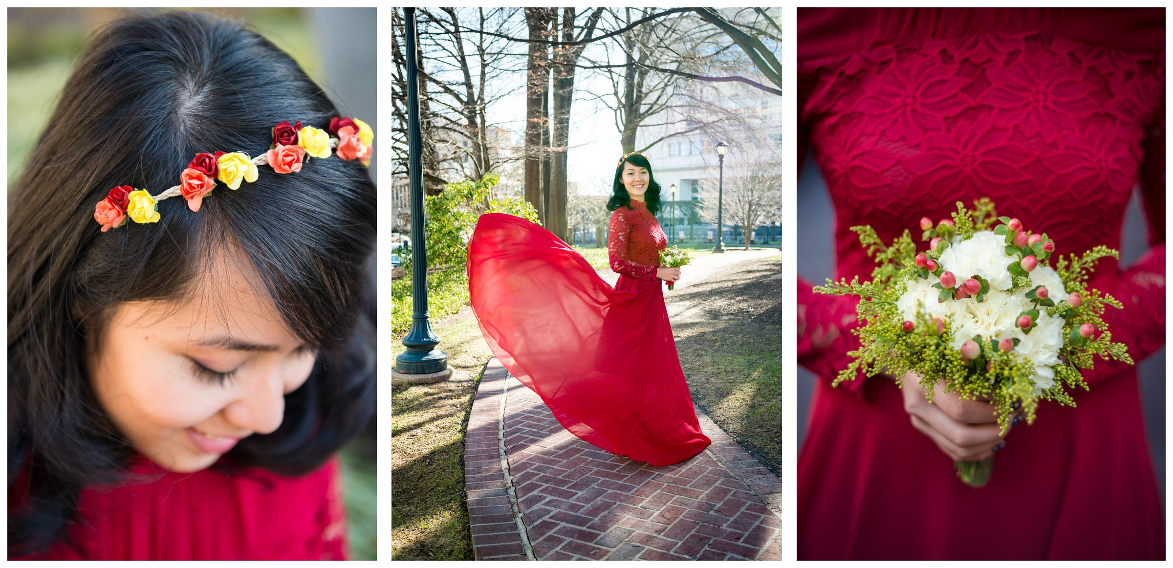 Filipino bride wearing red gown with flower crown and bouquet