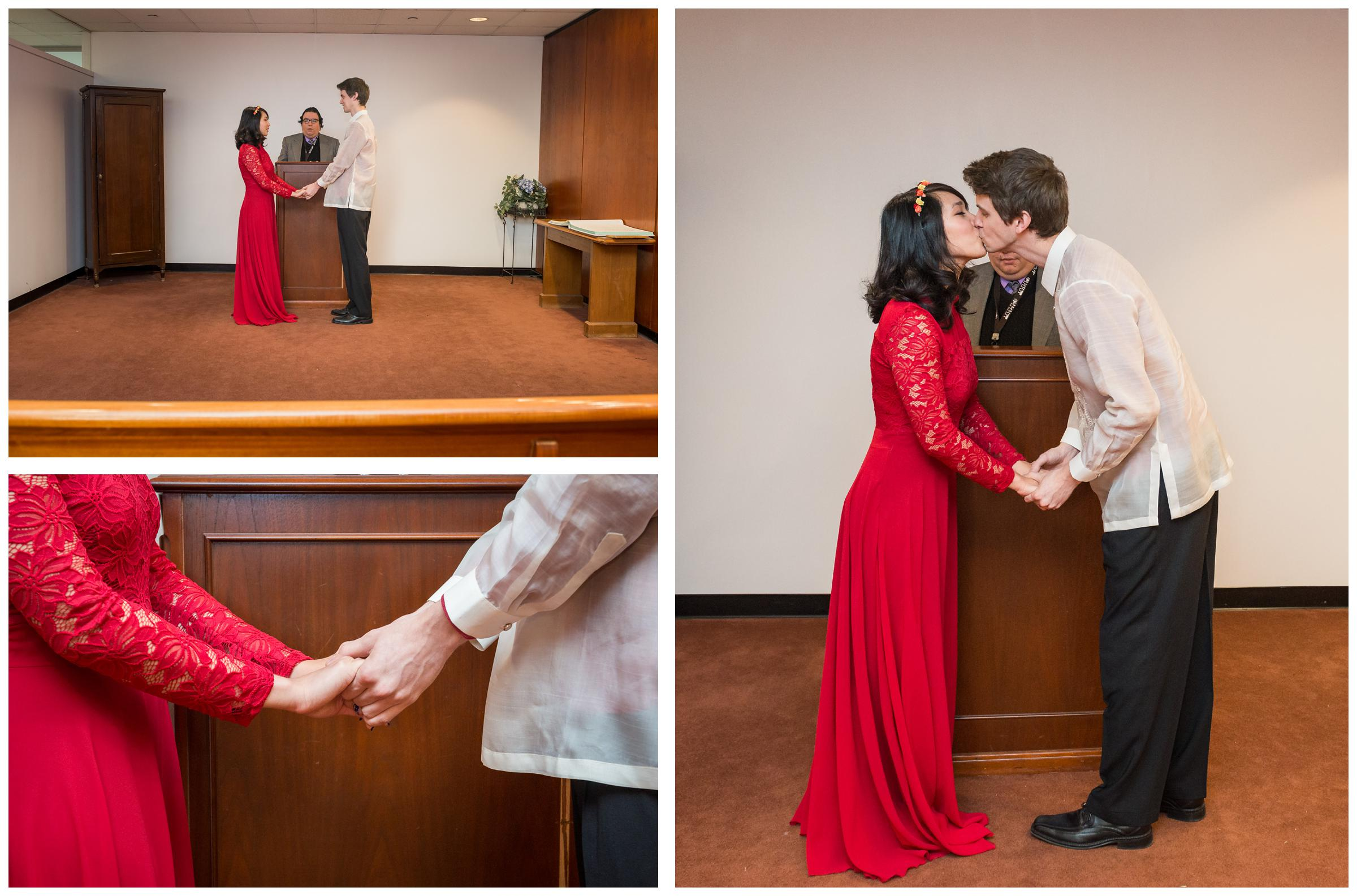 first kiss during elopement wedding at Montgomery County Courthouse in Rockville, Maryland