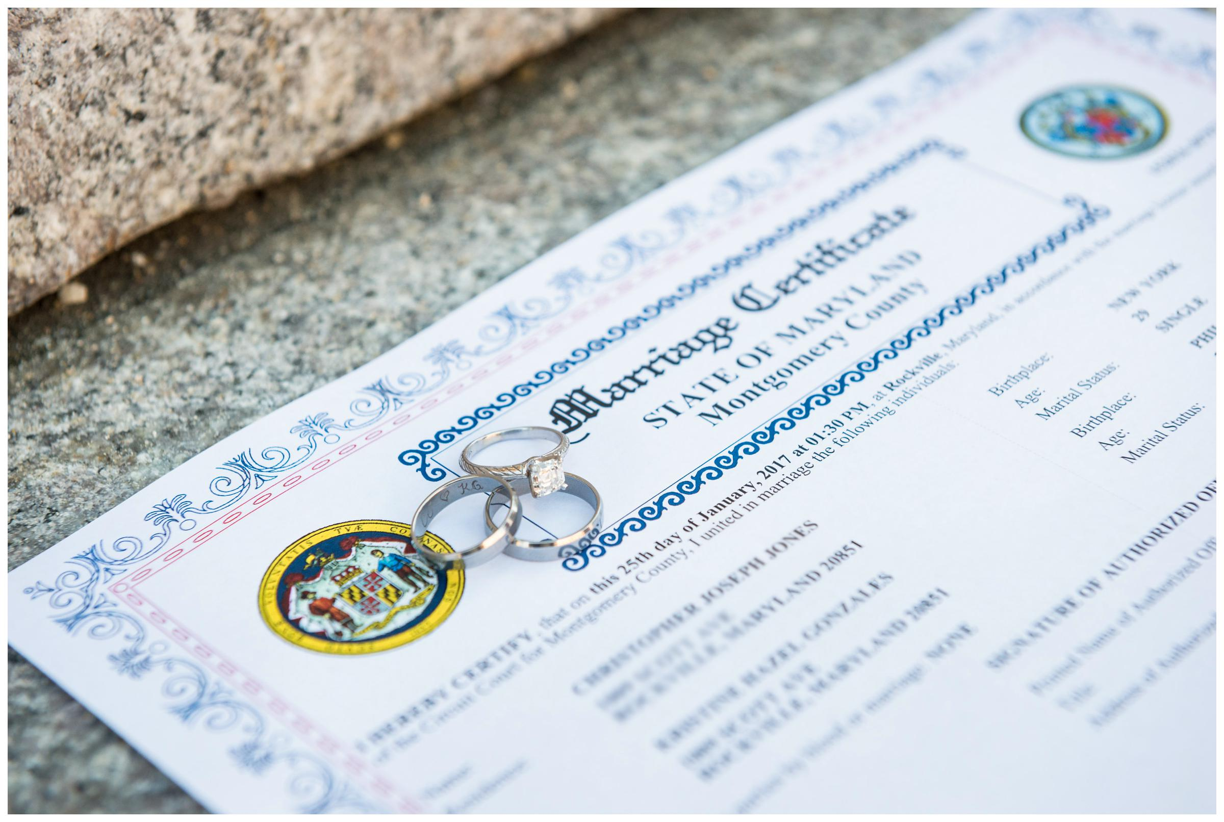 wedding rings on marriage certificate after courthouse wedding in Rockville, Maryland.