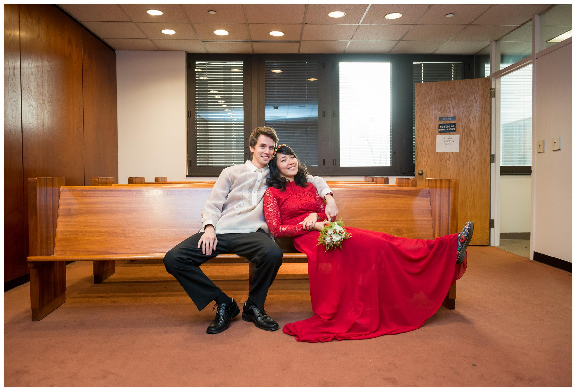 bride and groom after Montgomery County Courthouse wedding in Rockville, Maryland