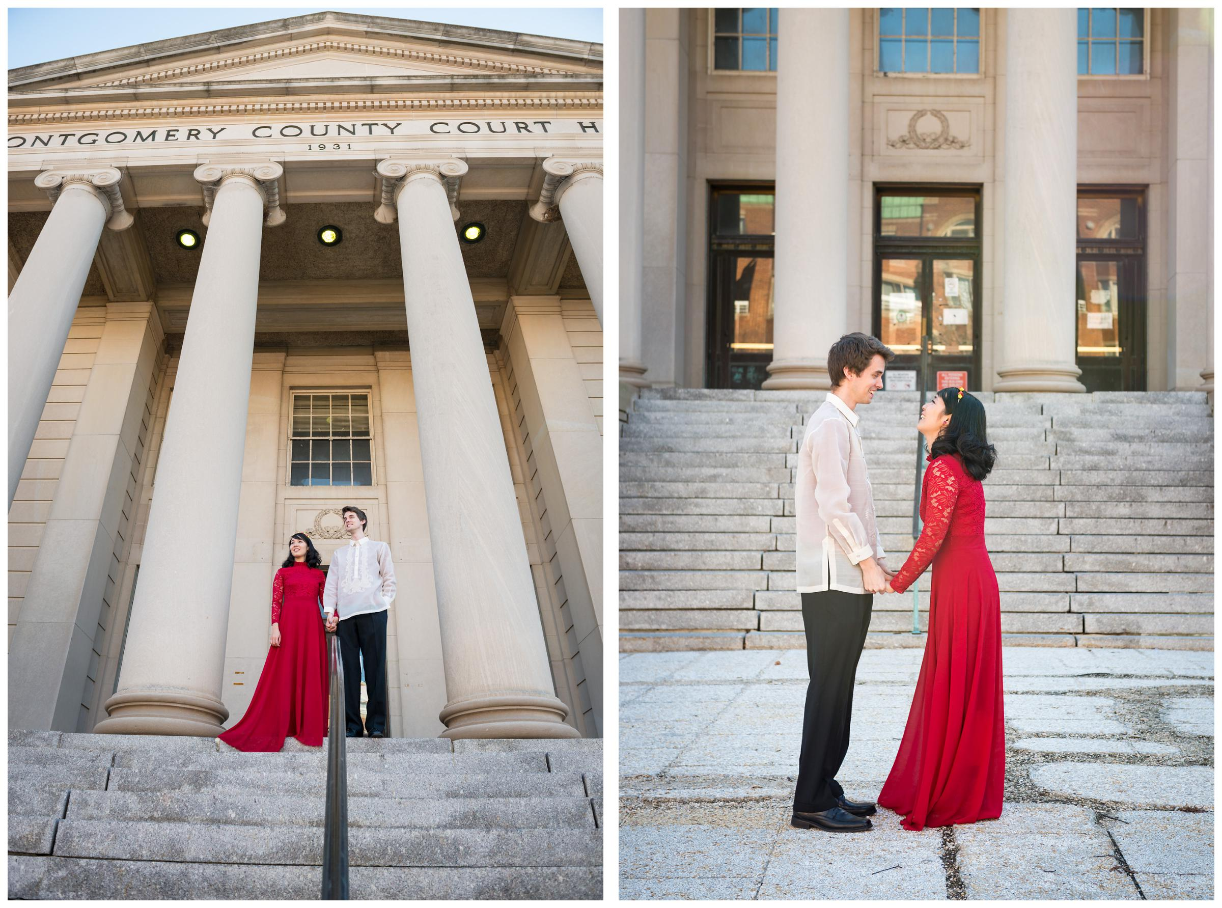 bride in red dress and groom outside of Montgomery County Courthouse after wedding