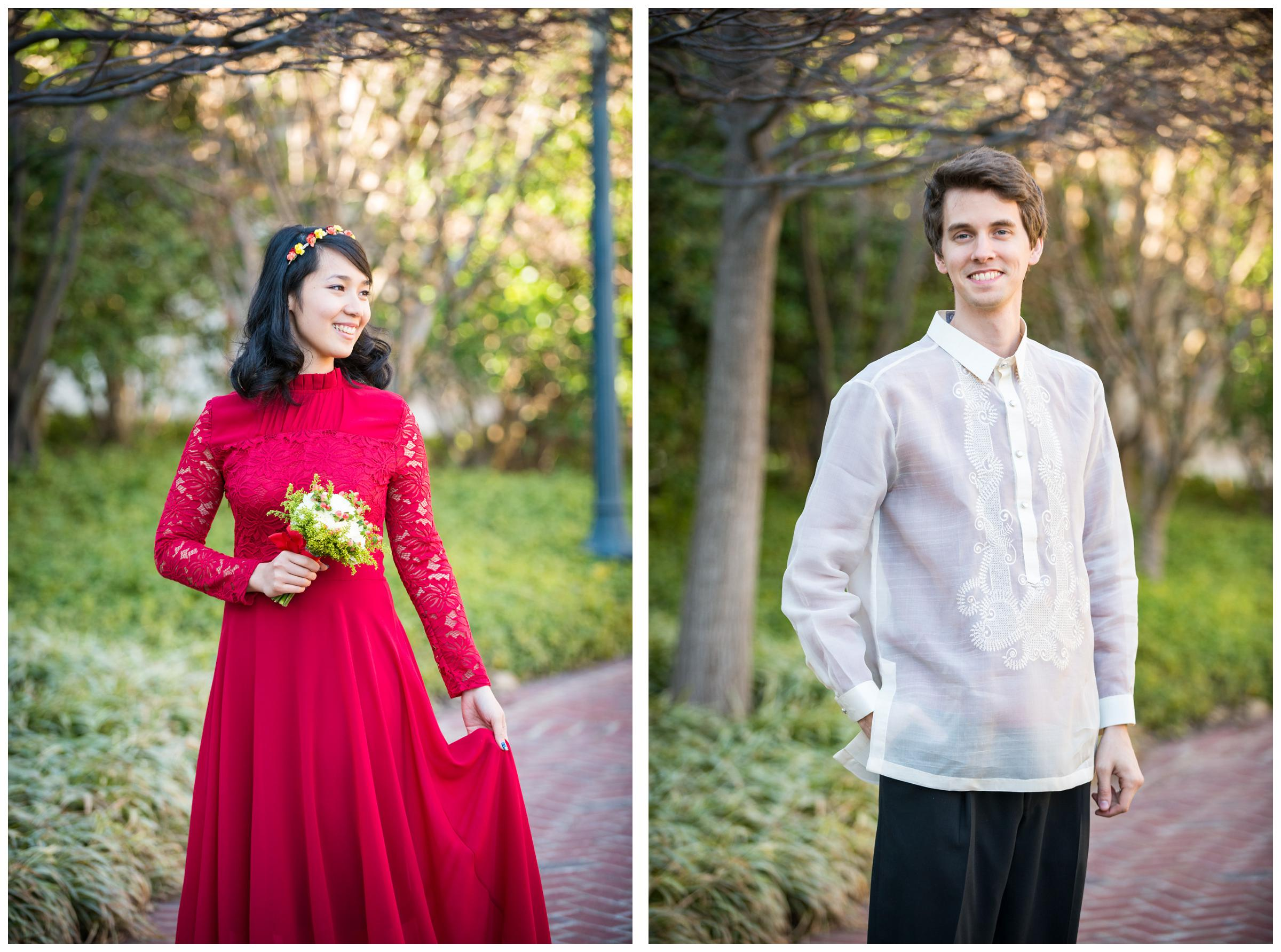 bride in red gown and groom in Filipino Barong Tagalog