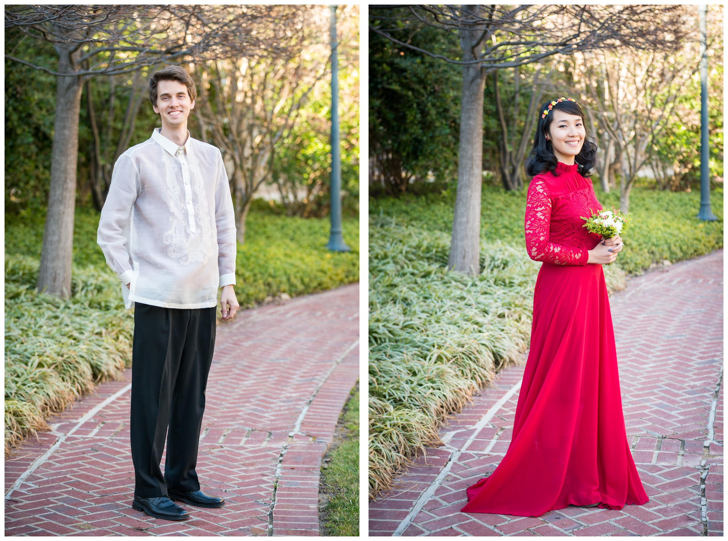 Filipino bride in red gown and groom in Filipino Barong Tagalog