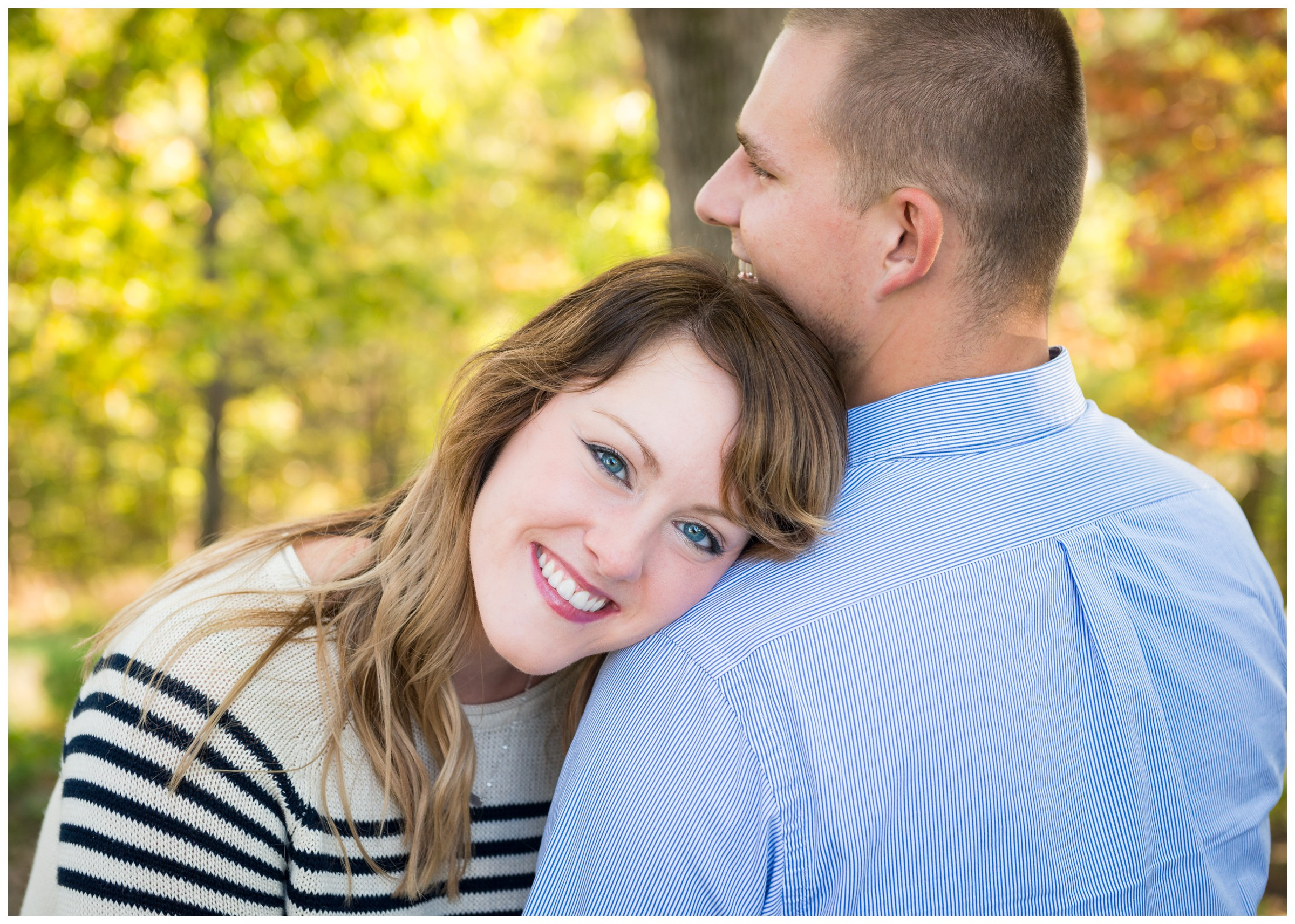 engaged couple smiling during engagement photos at Belmont in Fredericksburg, Virginia