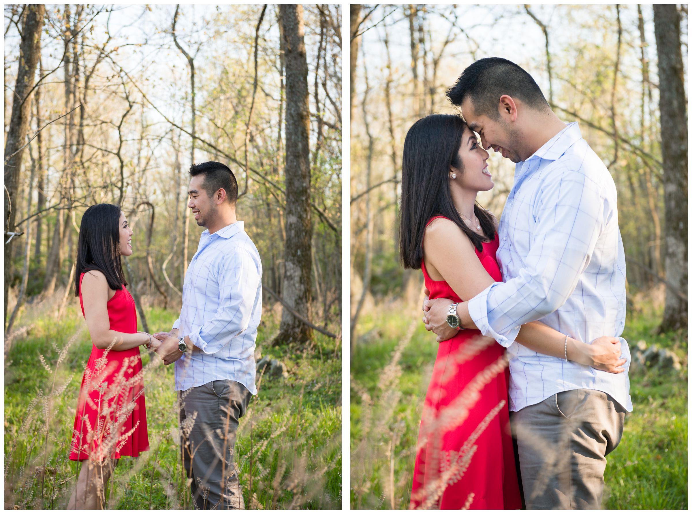 engaged couple in tall grass at Great Falls Park in Virginia