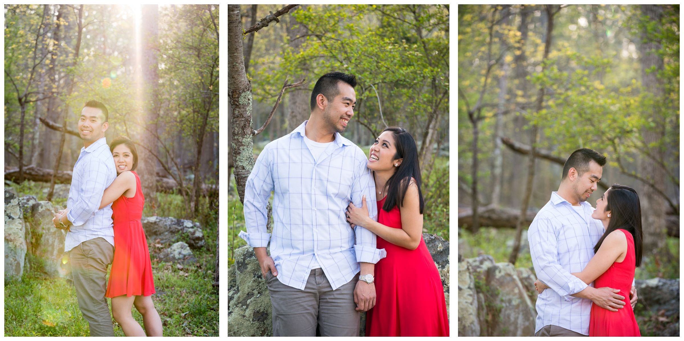 engaged couple in forest as sun sets at Great Falls Park in Northern Virginia