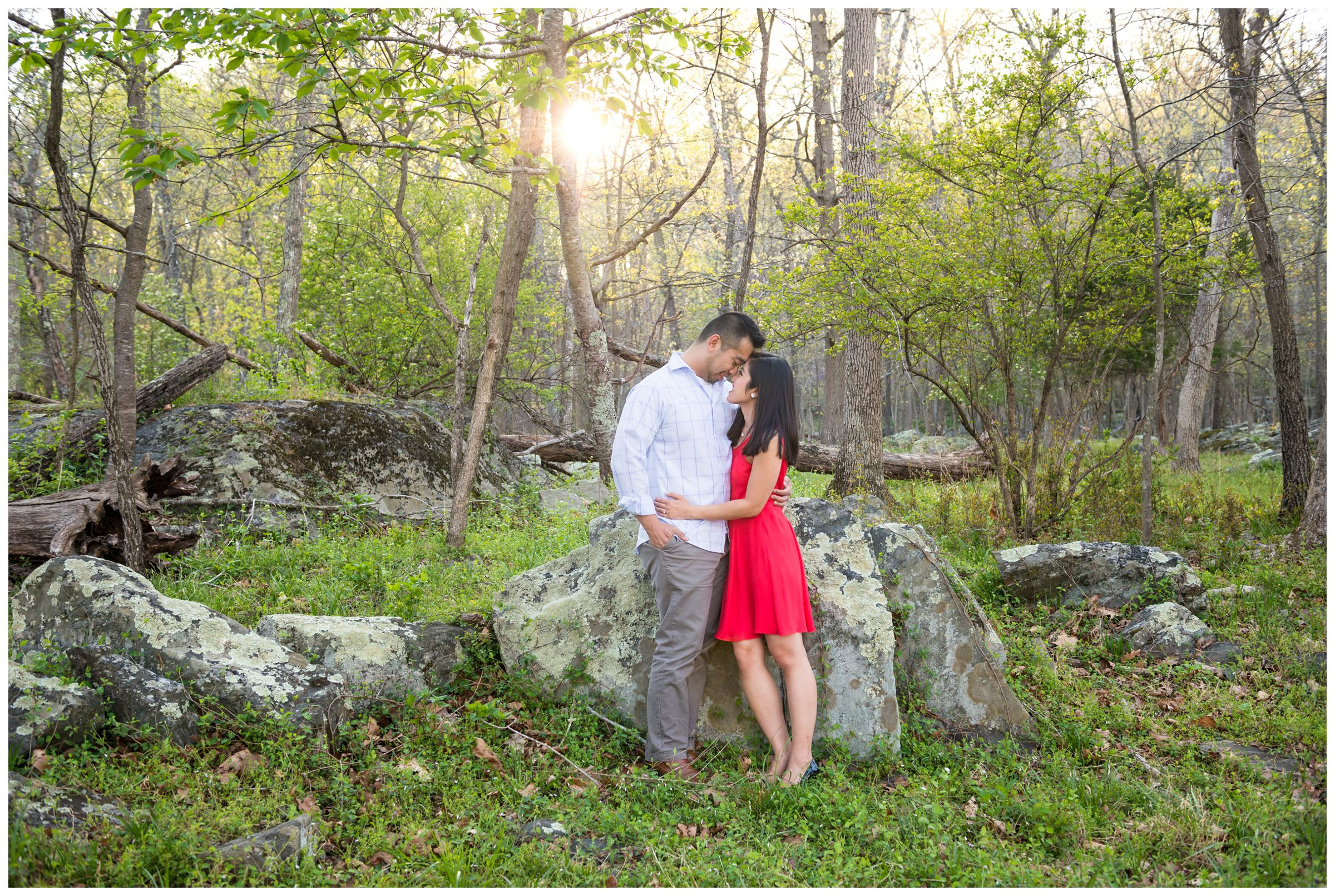 engagement photos in forest as sun sets at Great Falls Park in Northern Virginia