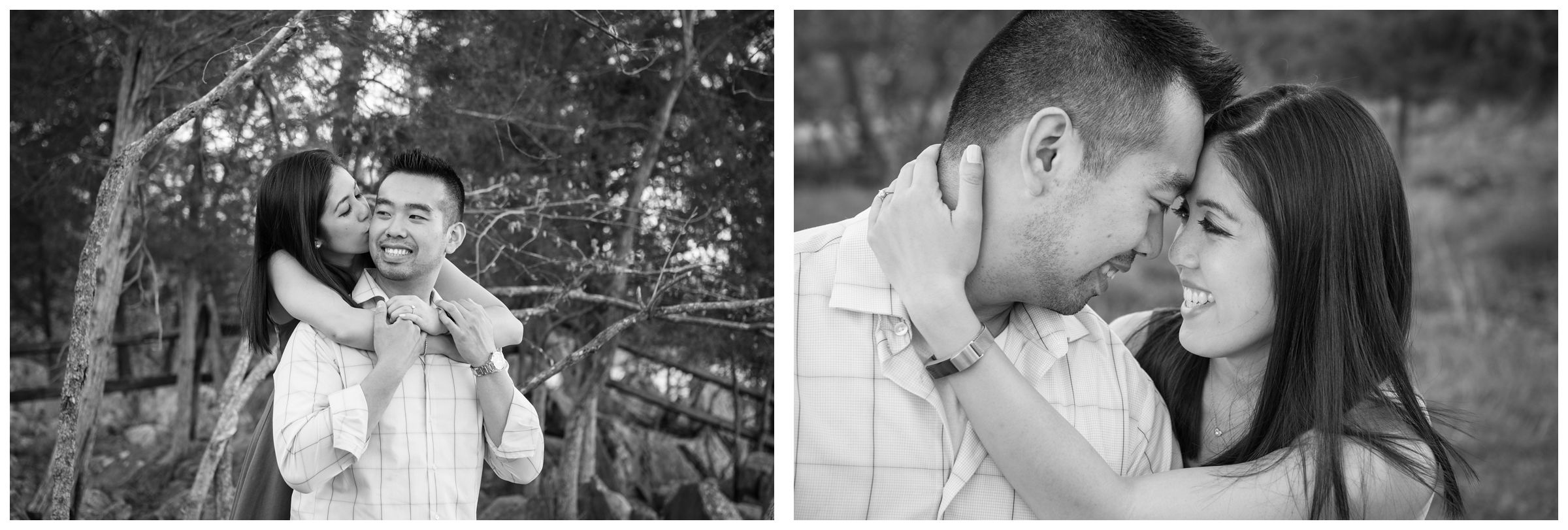 engaged couple amongst trees at Great Falls Park in Northern Virginia