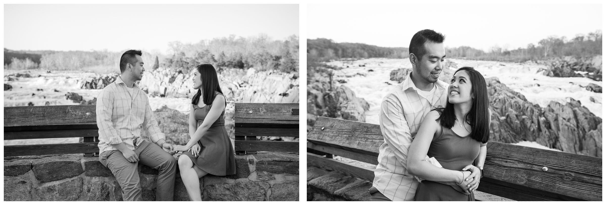 riverfront engagement photos at Great Falls Park in Northern Virginia