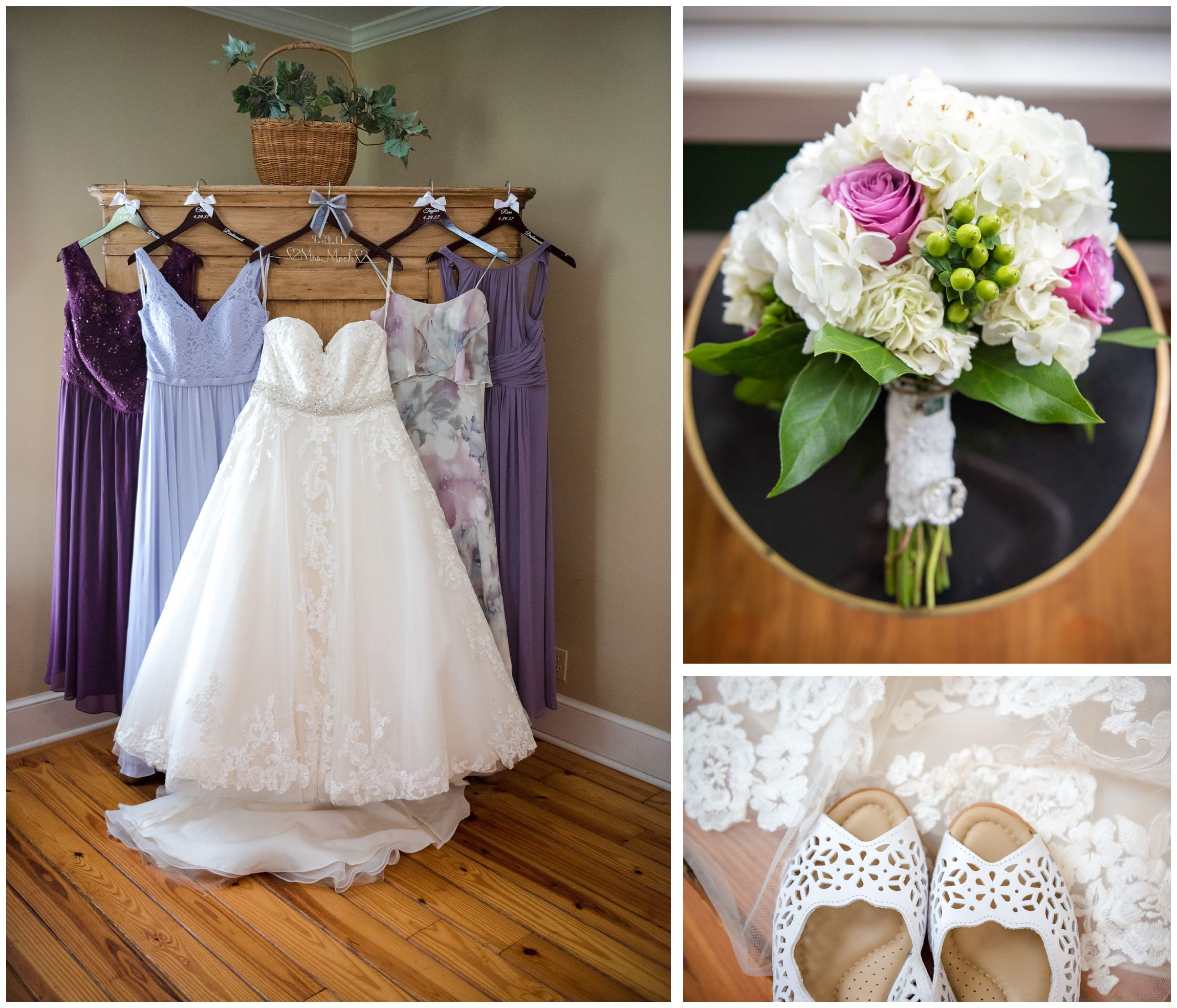 rustic wedding details including bride's gown and bridesmaid dresses, bouquet and shoes