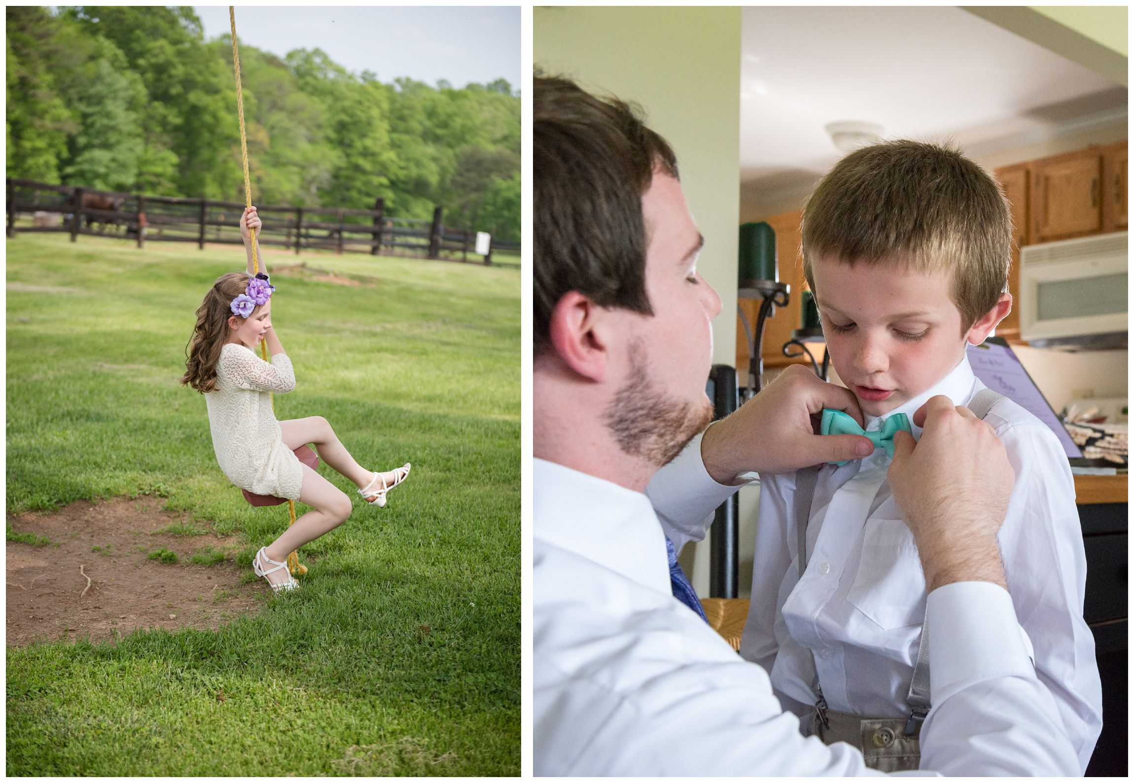 flower girl and ring bearer at rustic farm wedding
