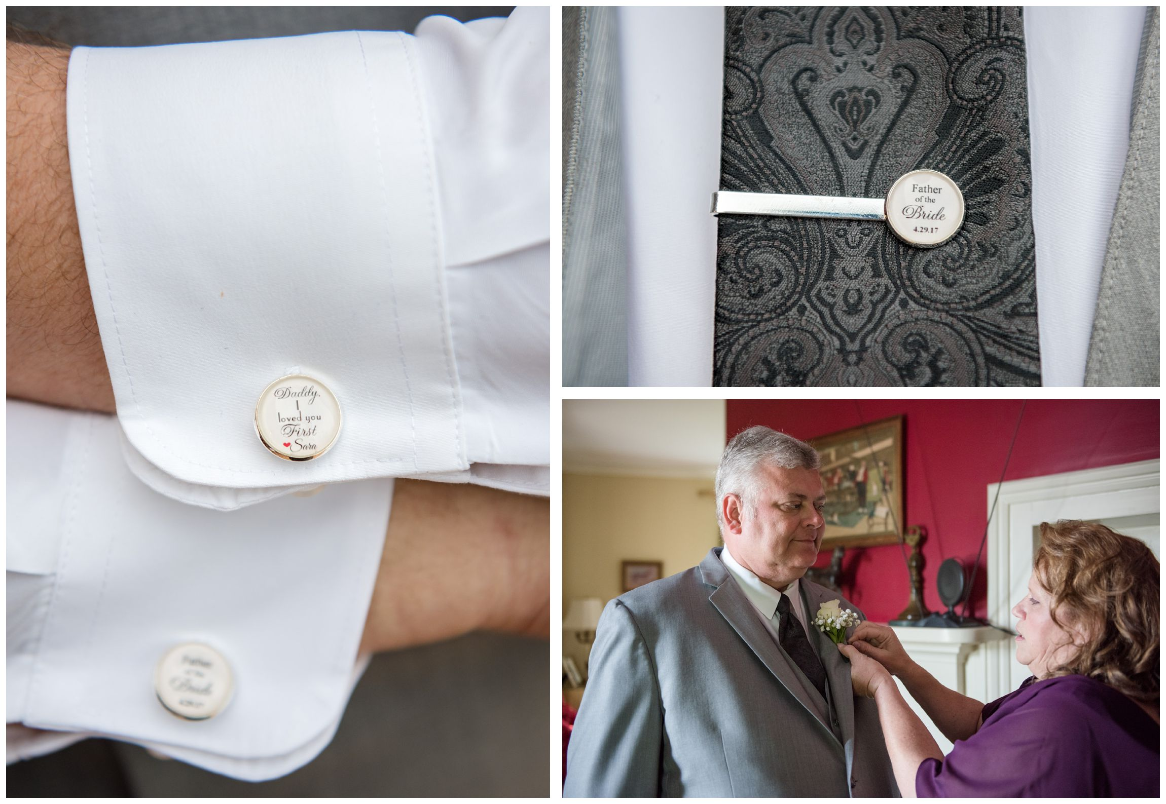father of the bride shows off custom cuff links and tie bar