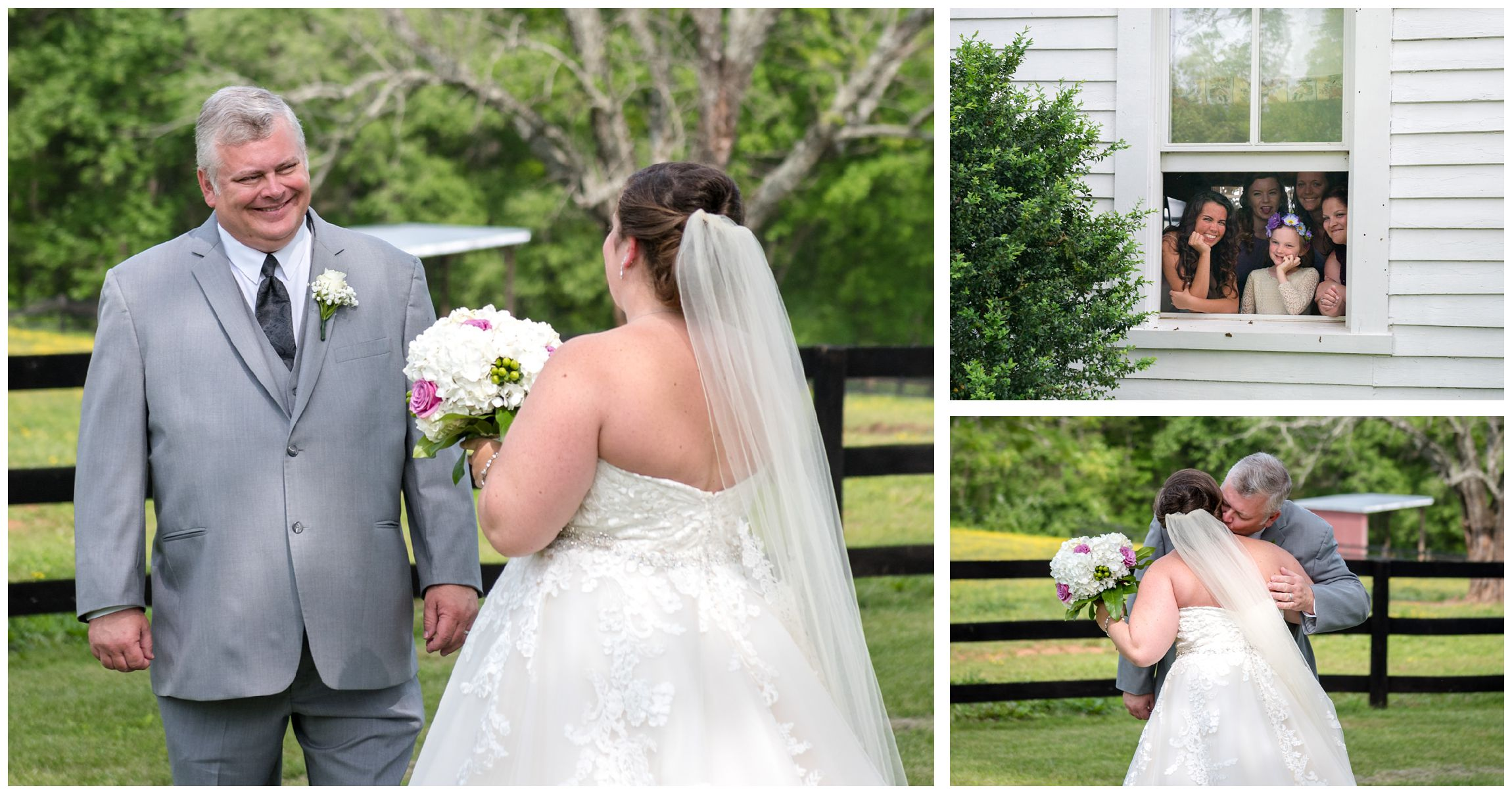 bride and dad share a first look moment before wedding ceremony at Wolftrap Farm