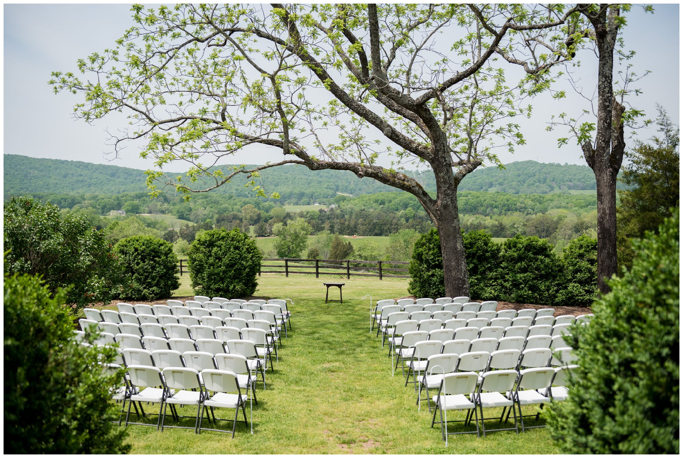 wedding ceremony at Wolftrap Farm in Gordonsville, Virginia with mountain views