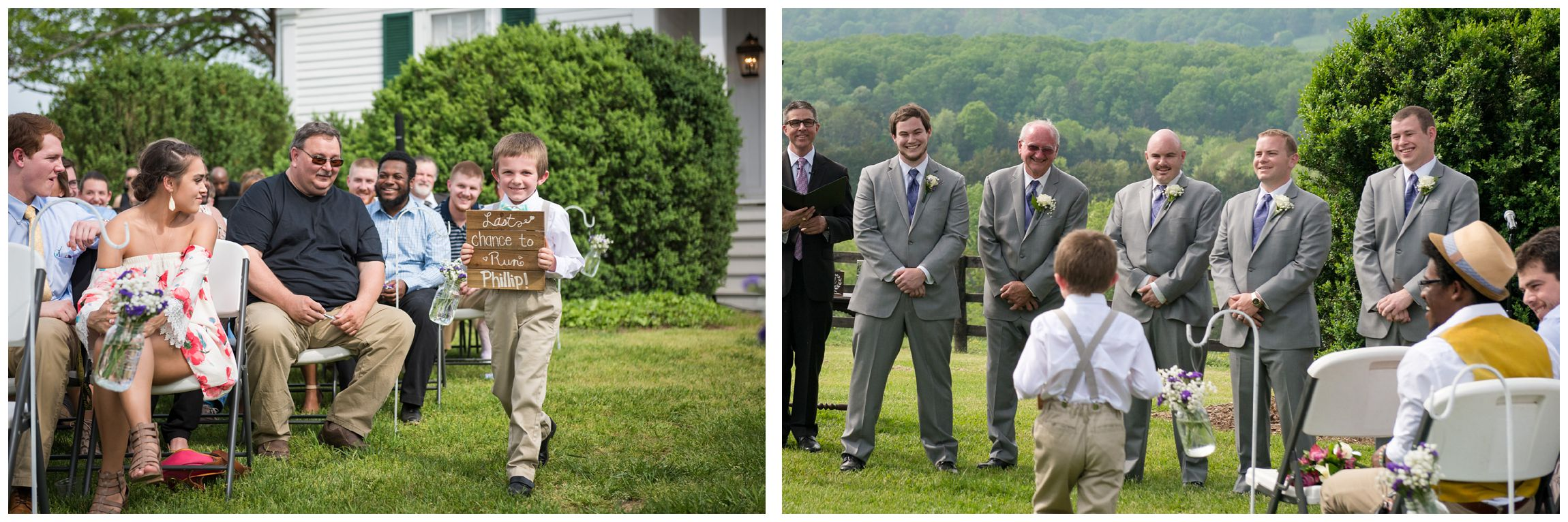 "ring bearer carries sign saying ""Last chance to run"" during wedding ceremony at Wolftrap Farm"